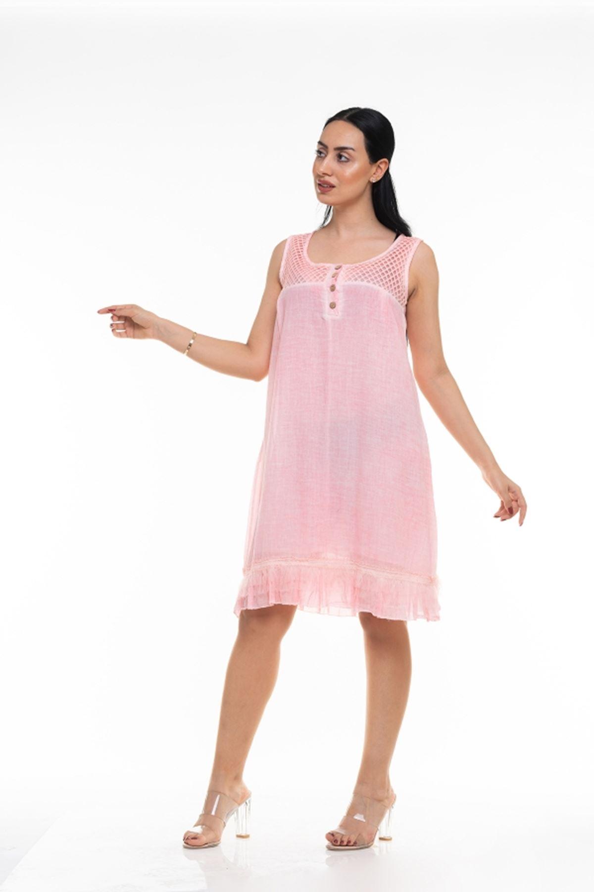 Dantel Yaka Askılı Uzun İtalyan Elbise