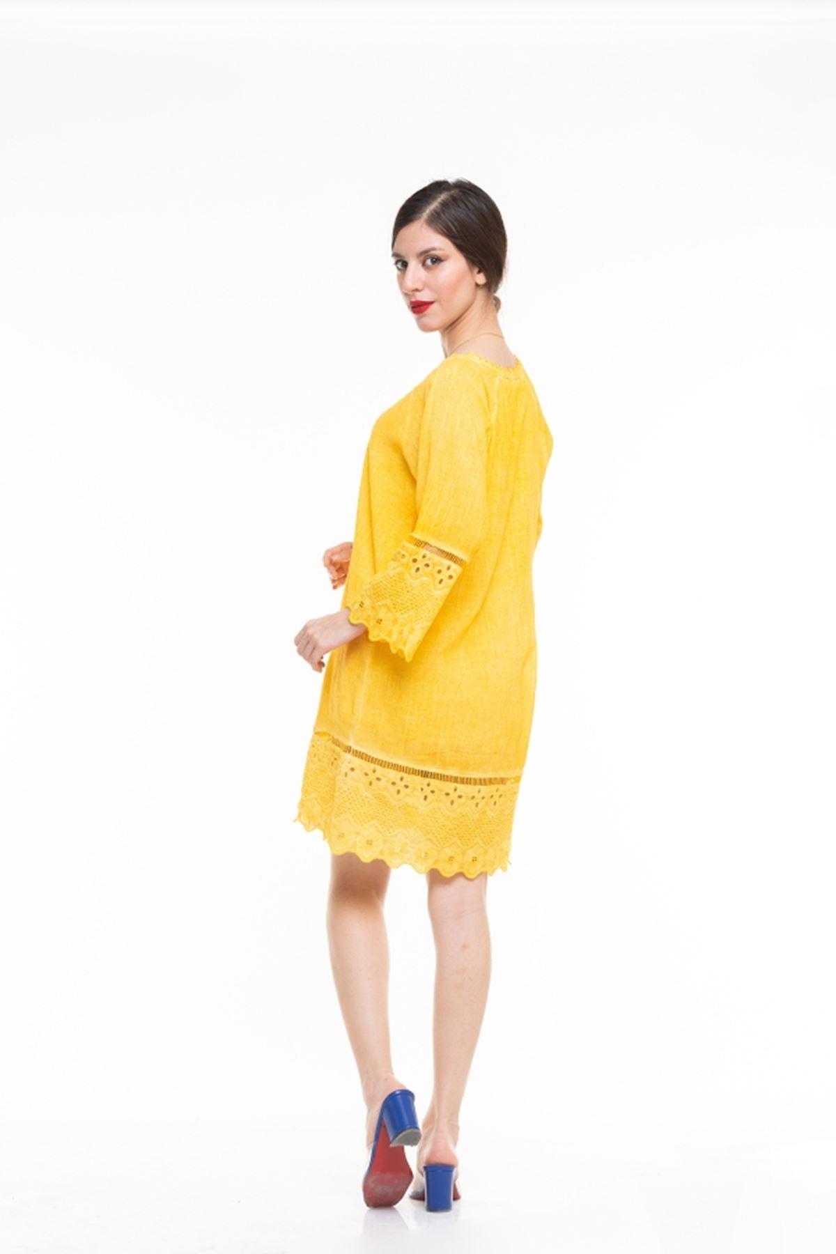 Dantel Detaylı İspanyol kol İtalyan Elbise