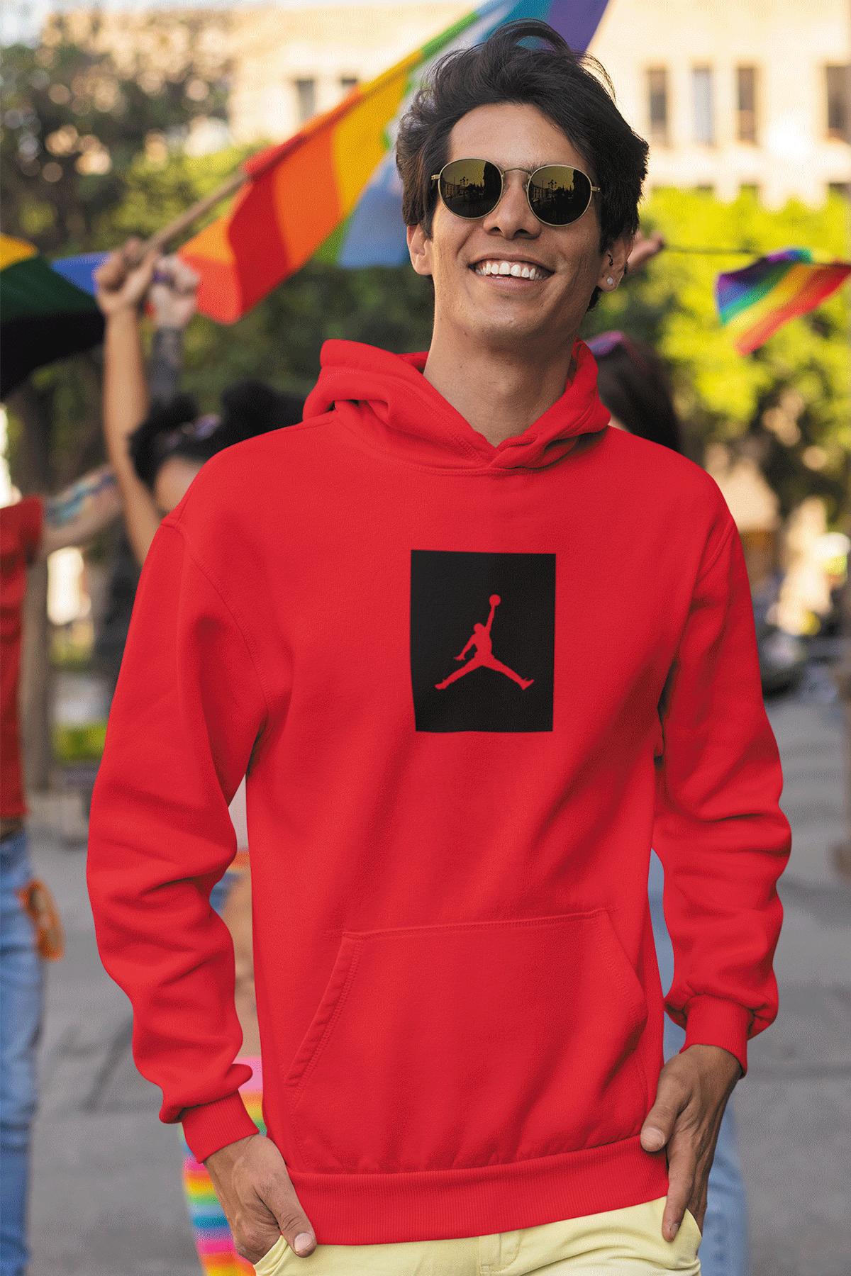 Air Jordan 09 Kırmızı NBA Erkek Kapşonlu Sweatshirt - Hoodie