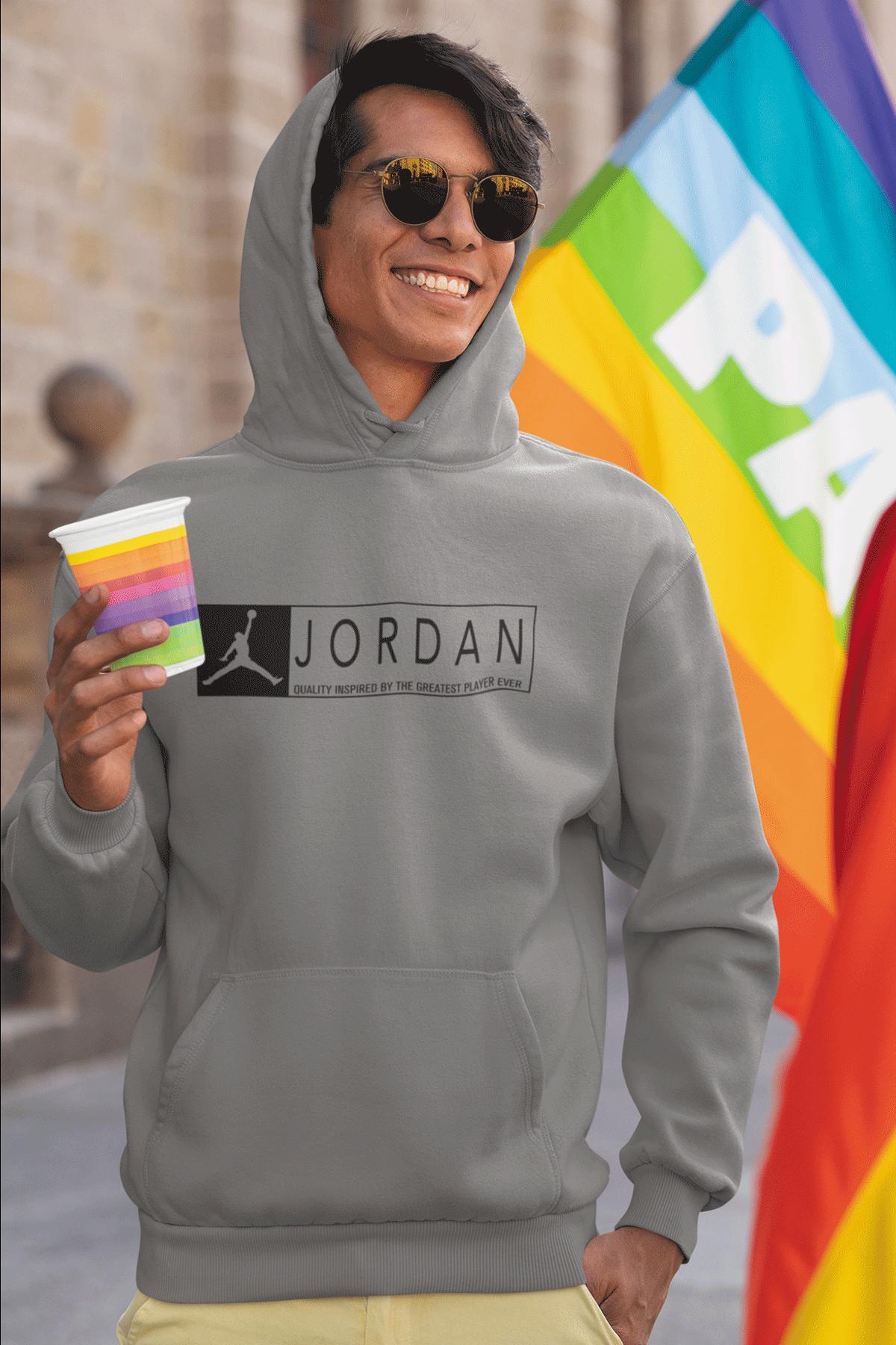 Air Jordan 13 Gri NBA Erkek Kapşonlu Sweatshirt - Hoodie