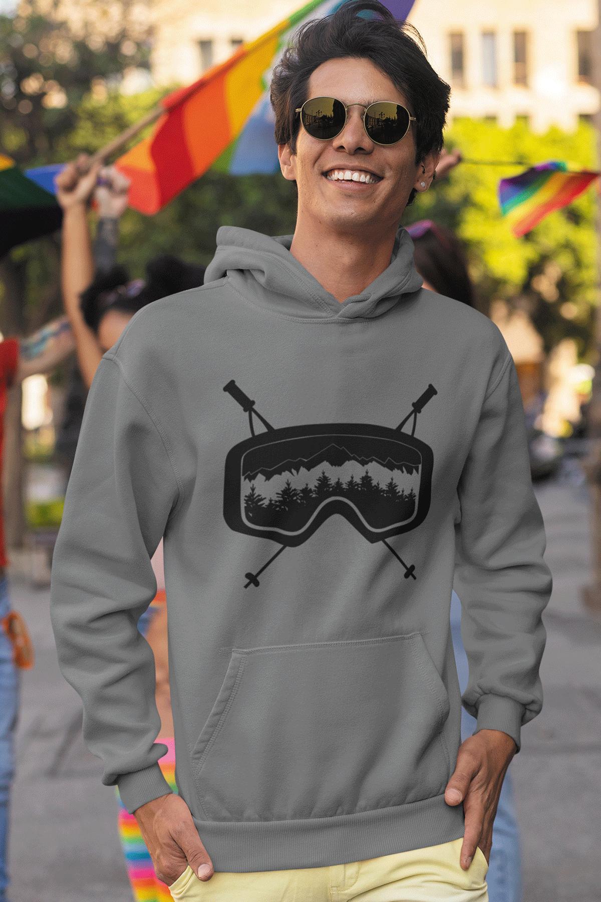Glass Gri Erkek Kapşonlu Sweatshirt - Hoodie