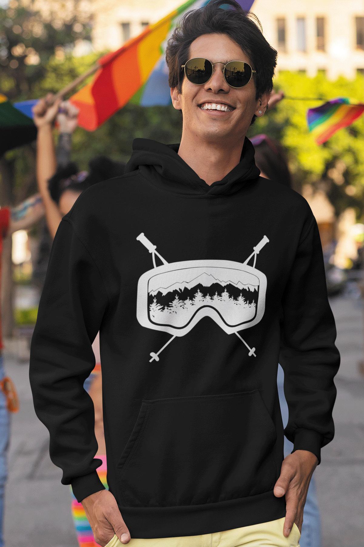 Glass Siyah Erkek Kapşonlu Sweatshirt - Hoodie