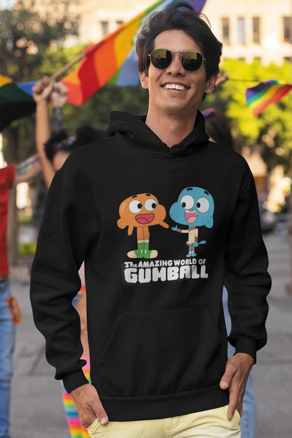 Gumball Siyah Erkek Kapşonlu Sweatshirt - Hoodie