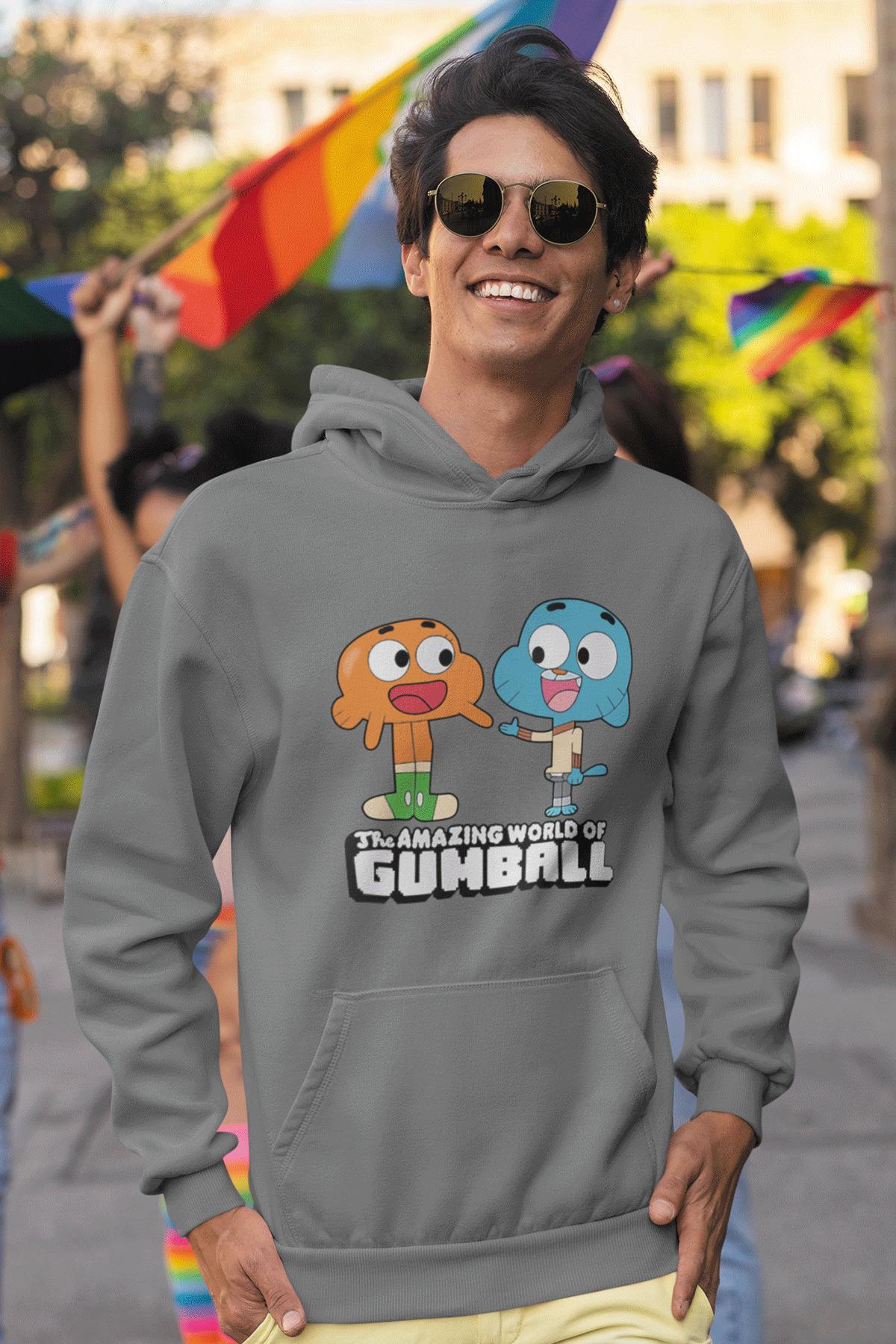 Gumball Gri Erkek Kapşonlu Sweatshirt - Hoodie