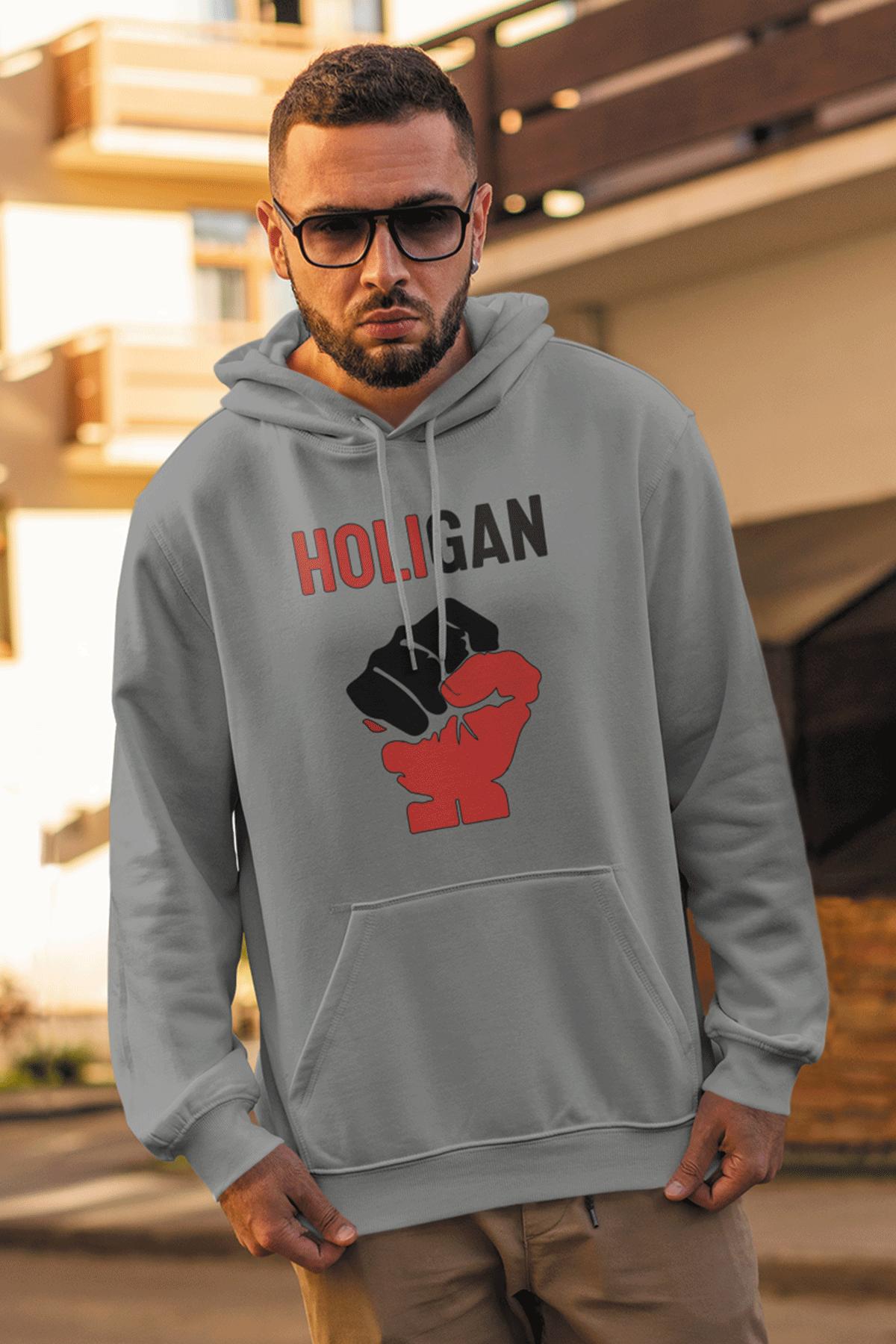 Holigan Gri Erkek Kapşonlu Sweatshirt - Hoodie