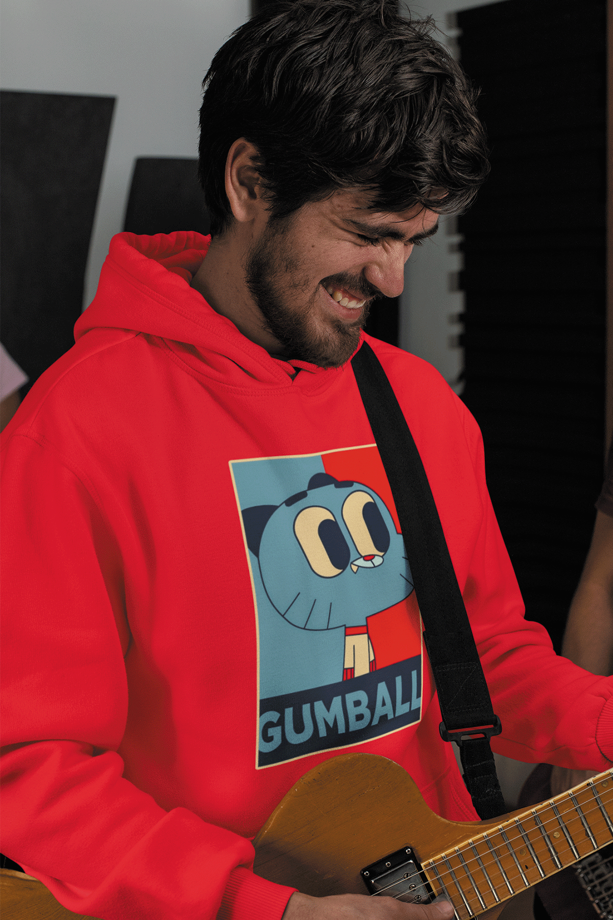 Gumball Kırmızı Erkek Kapşonlu Sweatshirt - Hoodie
