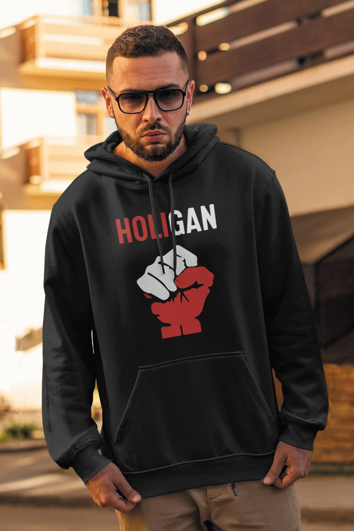 Holigan Siyah Erkek Kapşonlu Sweatshirt - Hoodie