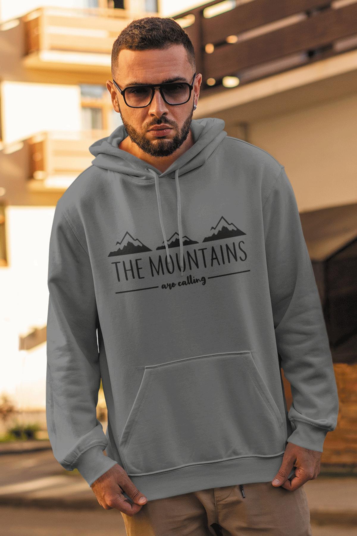 Mountain Gri Erkek Kapşonlu Sweatshirt - Hoodie