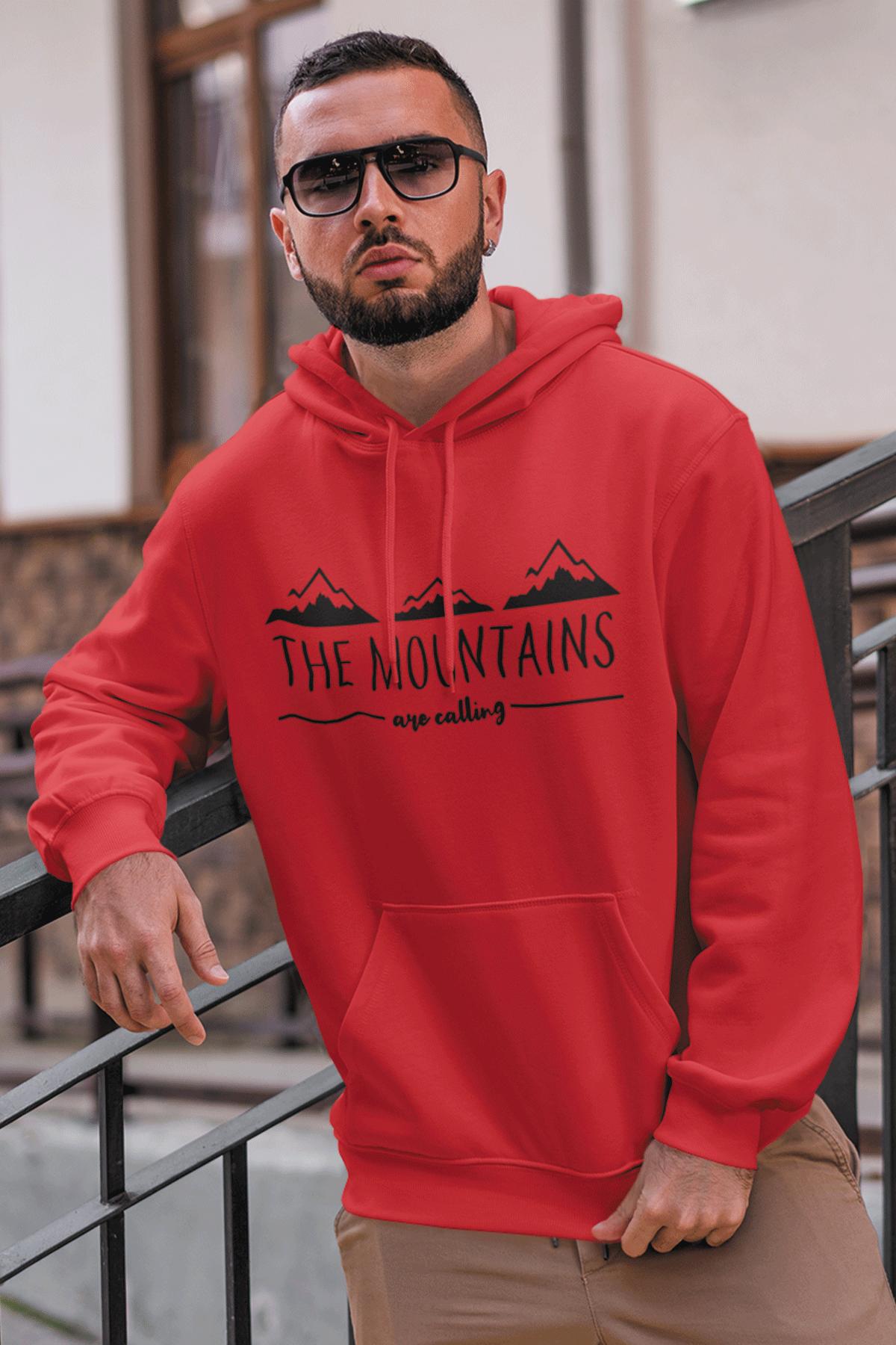 Mountain Kırmızı NBA Erkek Kapşonlu Sweatshirt - Hoodie