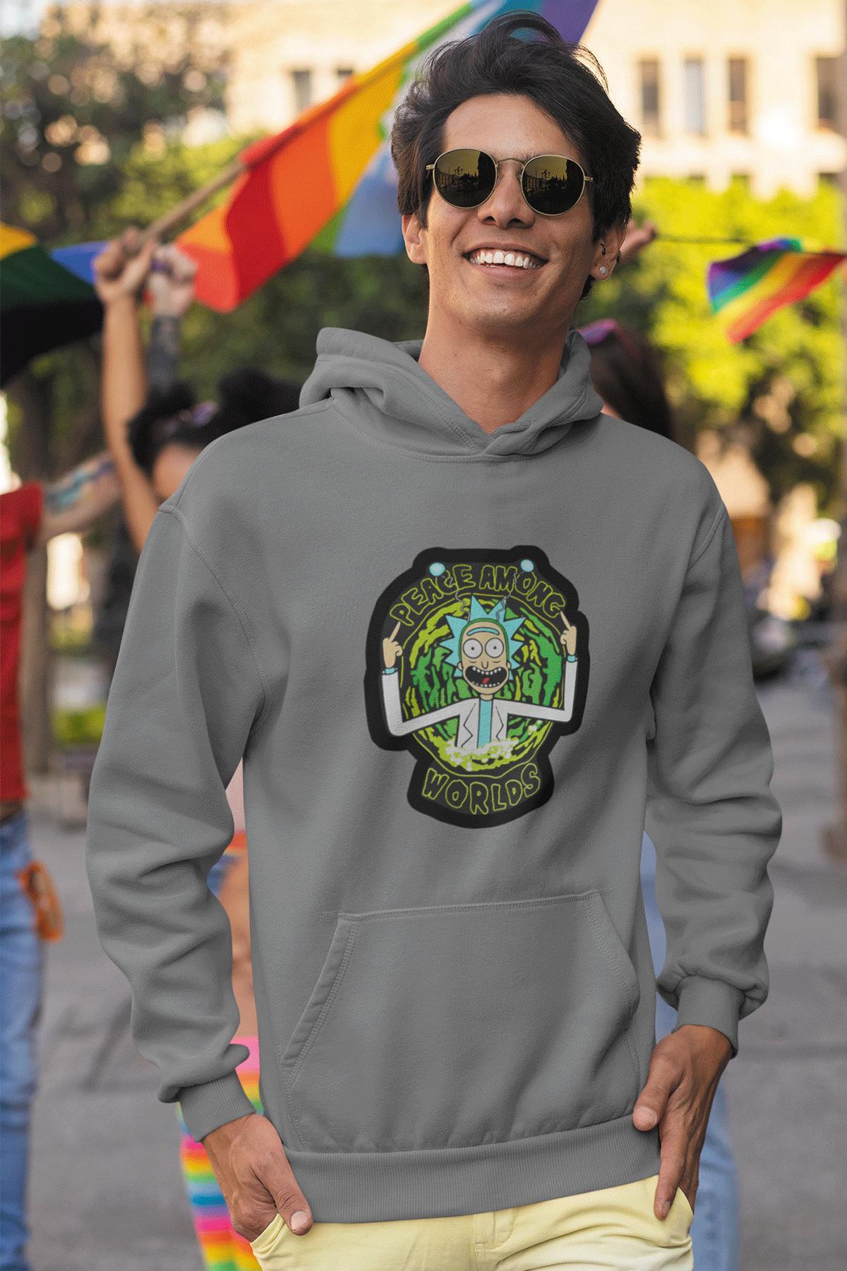 Rick And Morty Gri Erkek Kapşonlu Sweatshirt - Hoodie