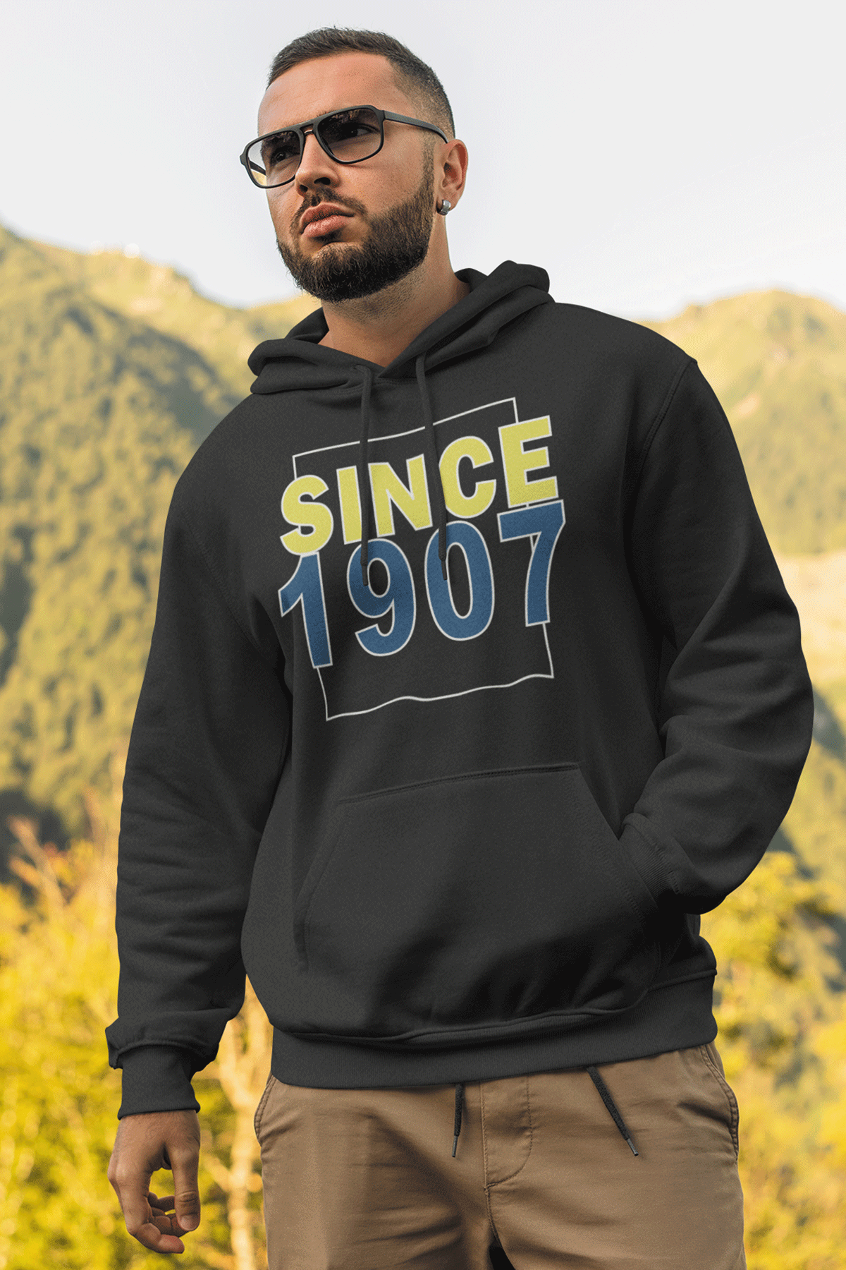 Since 1907 Siyah FB Erkek Kapşonlu Sweatshirt - Hoodie