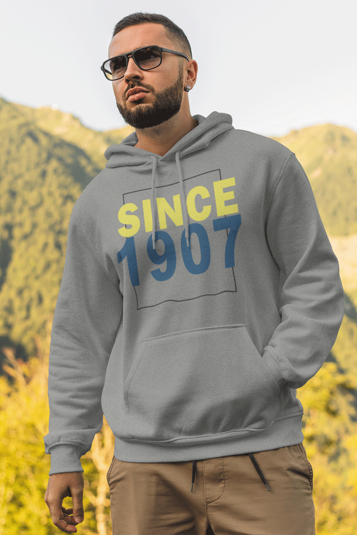 Since 1907 Gri FB Erkek Kapşonlu Sweatshirt - Hoodie