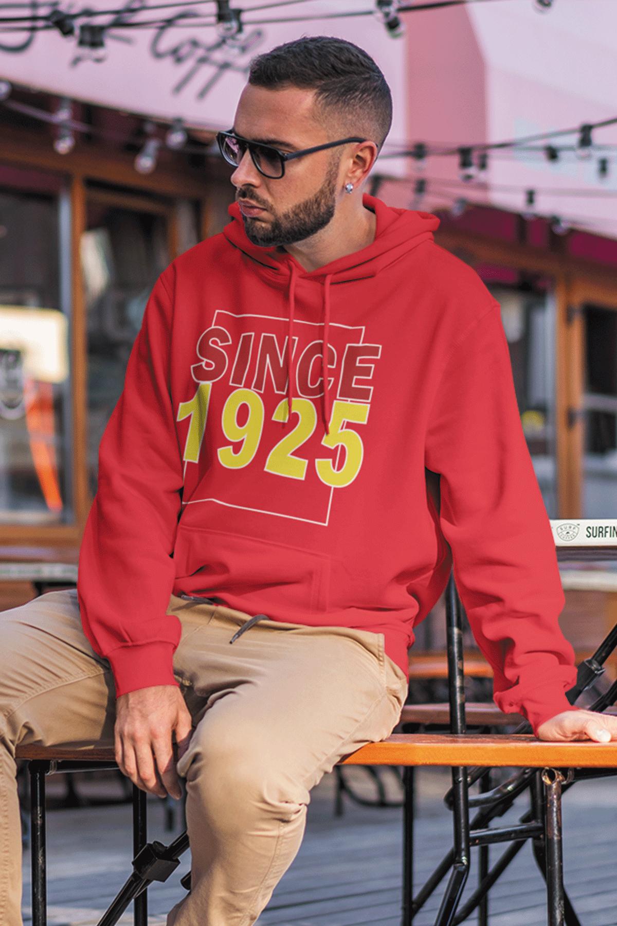 Since 1925 Kırmızı Erkek Kapşonlu Sweatshirt - Hoodie