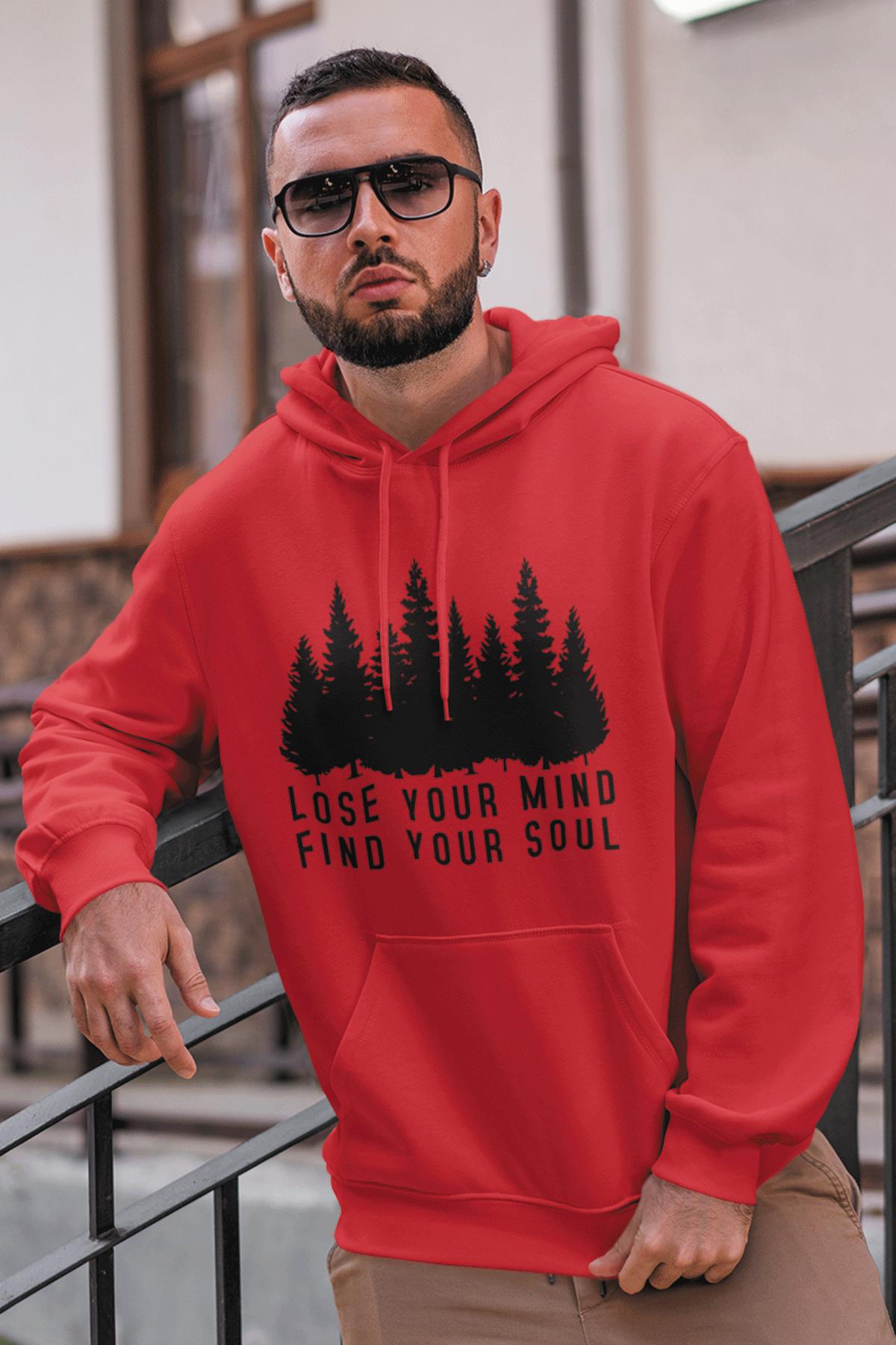 Soul Kırmızı Erkek Kapşonlu Sweatshirt - Hoodie