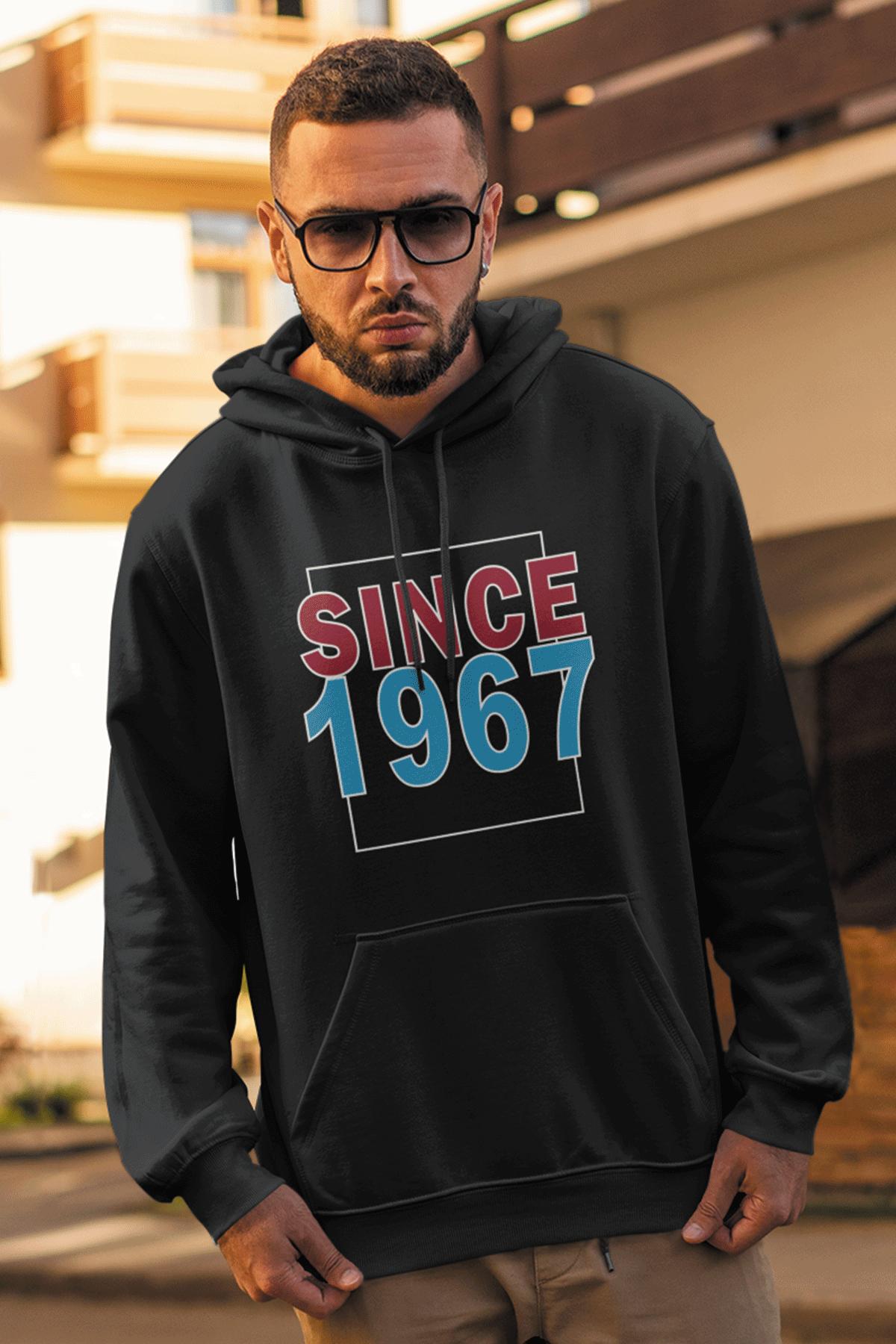 Since 1967 Siyah Erkek Kapşonlu Sweatshirt - Hoodie