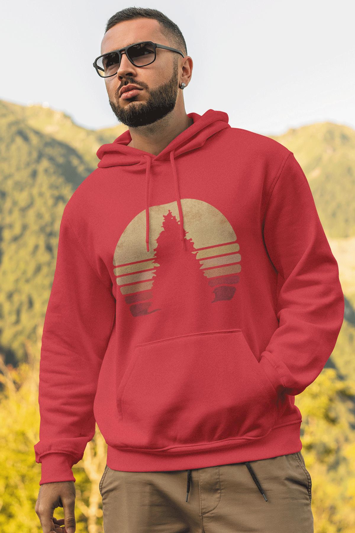 Sunset Kırmızı Erkek Kapşonlu Sweatshirt - Hoodie