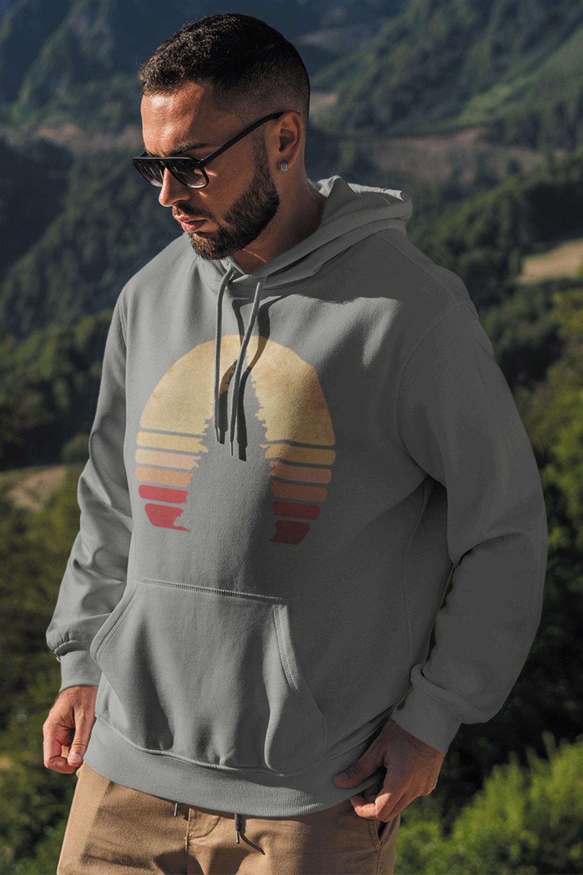 Sunset Gri Erkek Kapşonlu Sweatshirt - Hoodie