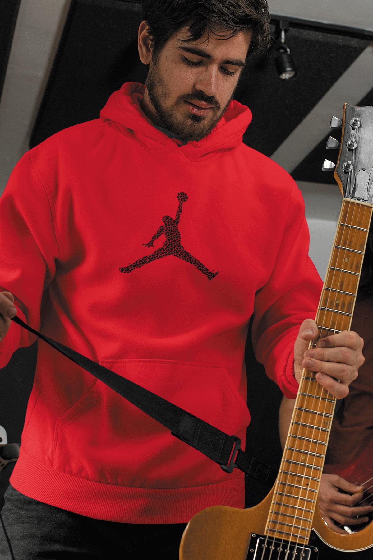 Air Jordan 16 Kırmızı NBA Erkek Kapşonlu Sweatshirt - Hoodie