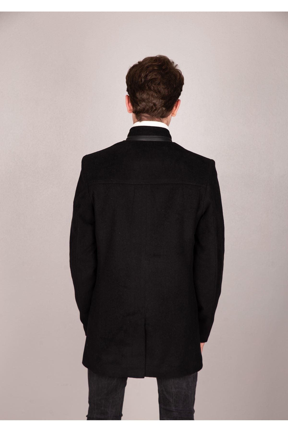 Erkek Deri Fermuarlı Siyah Kaşe Kaban