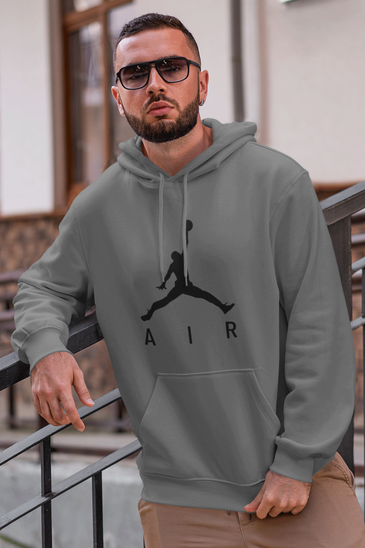 Air Jordan 03 Gri NBA Erkek Kapşonlu Sweatshirt - Hoodie