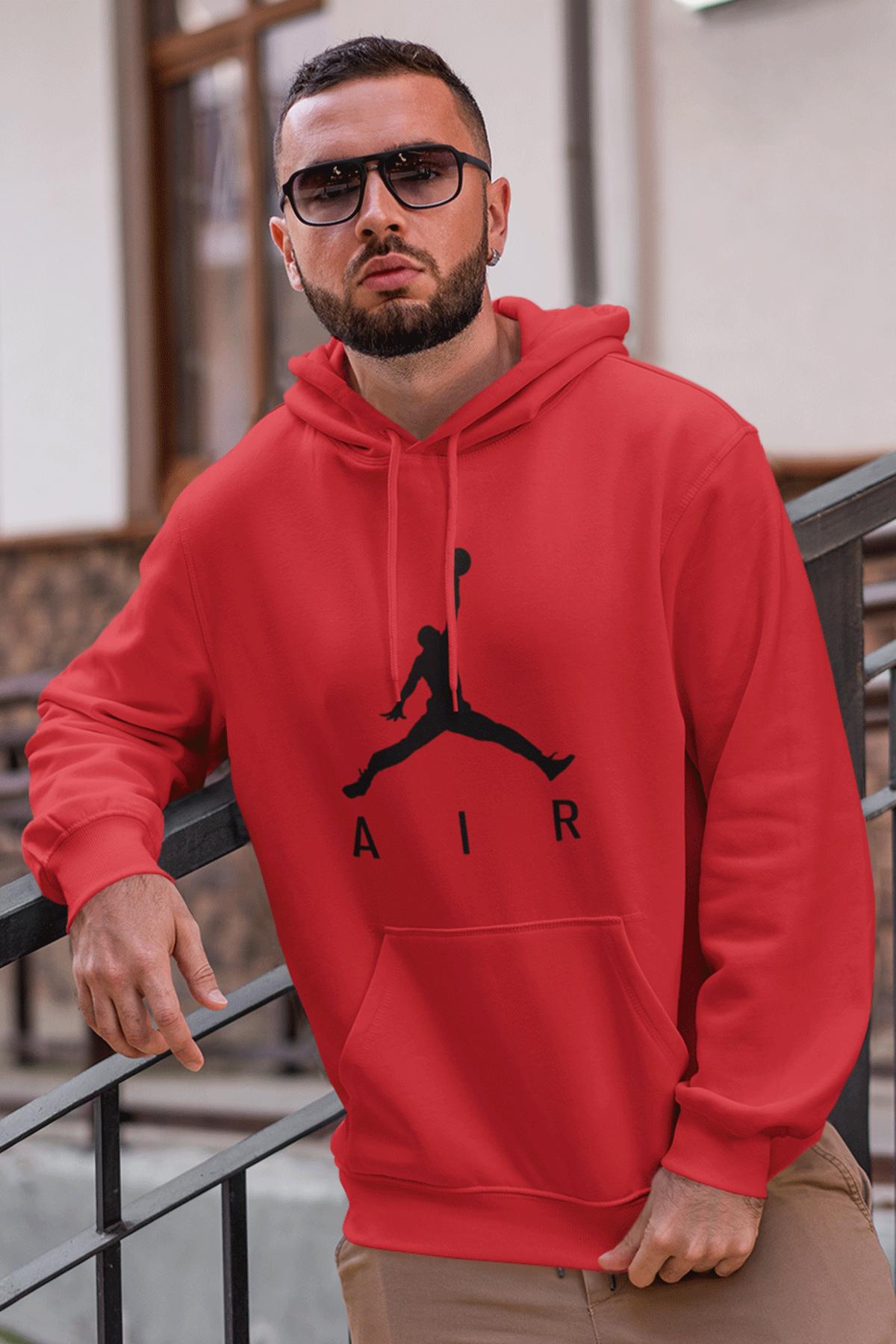 Air Jordan 03 Kırmızı NBA Erkek Kapşonlu Sweatshirt - Hoodie