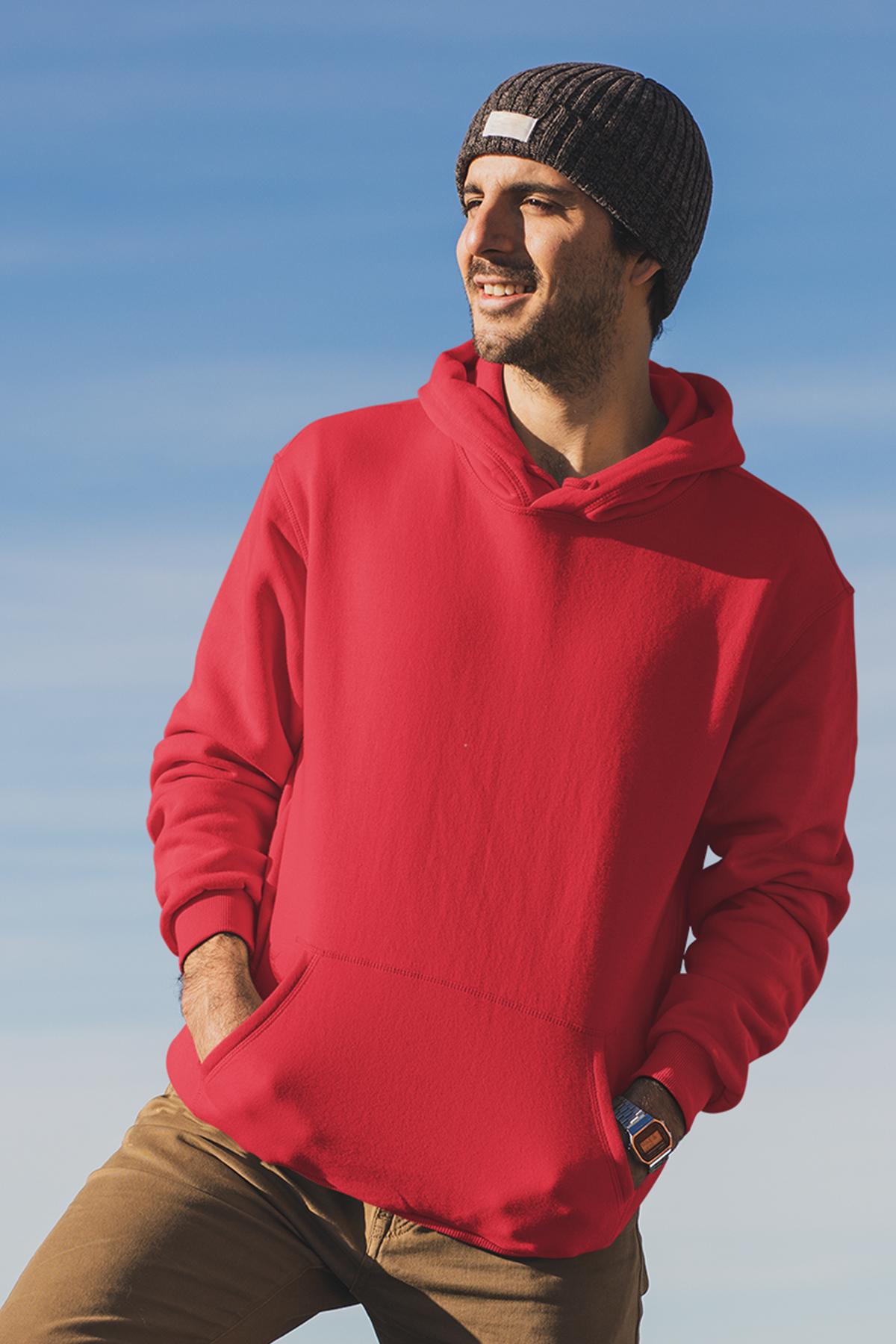 Kırmızı Erkek Kapşonlu Sweatshirt - Hoodie