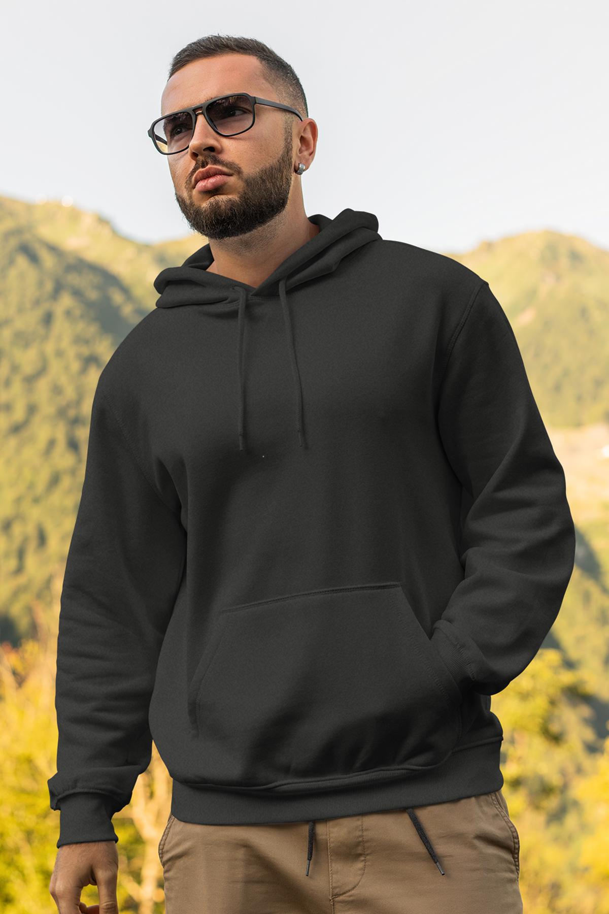 Siyah Erkek Kapşonlu Sweatshirt - Hoodie