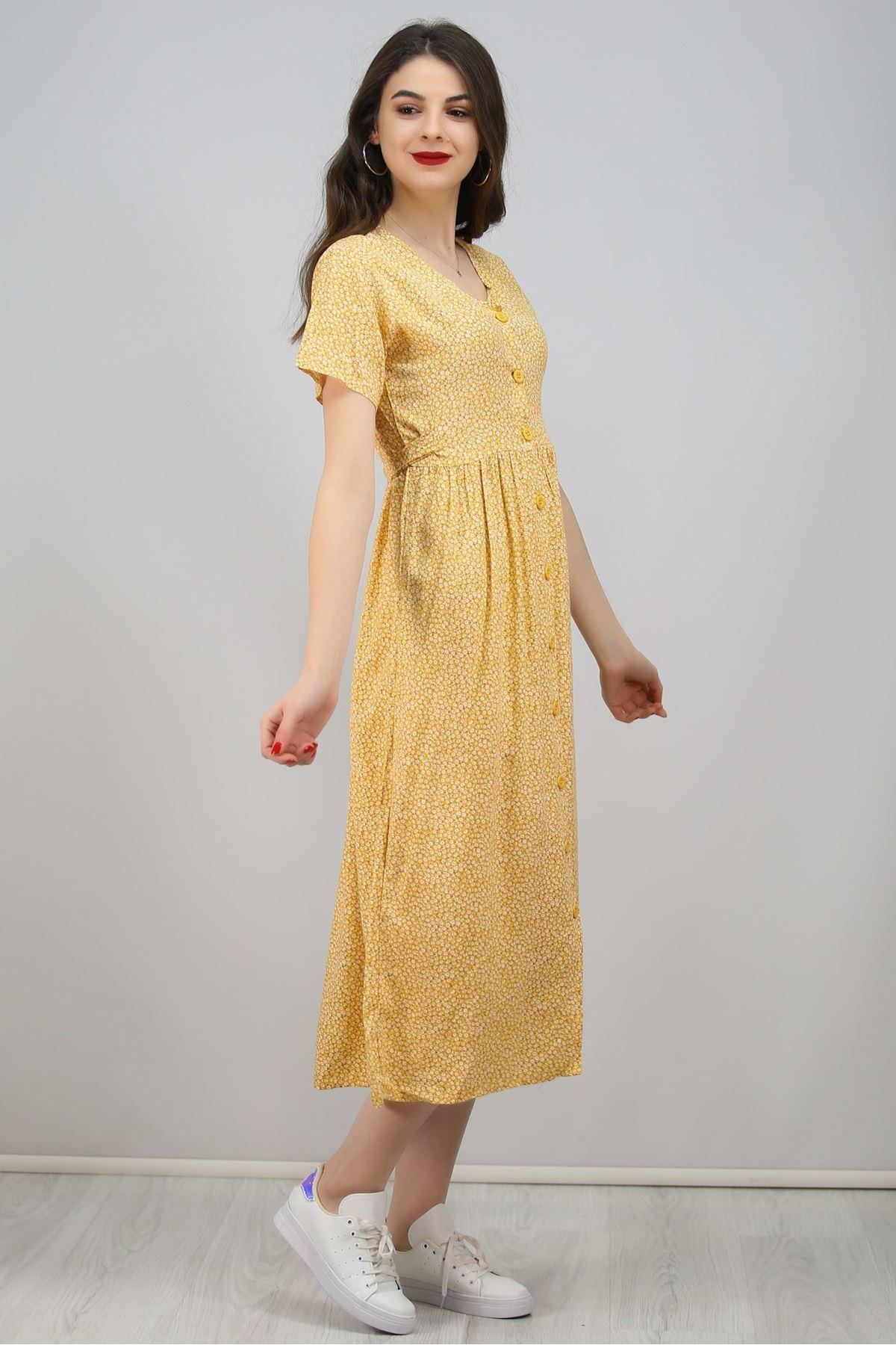 Viskon Elbise Sarı - 7175.514.