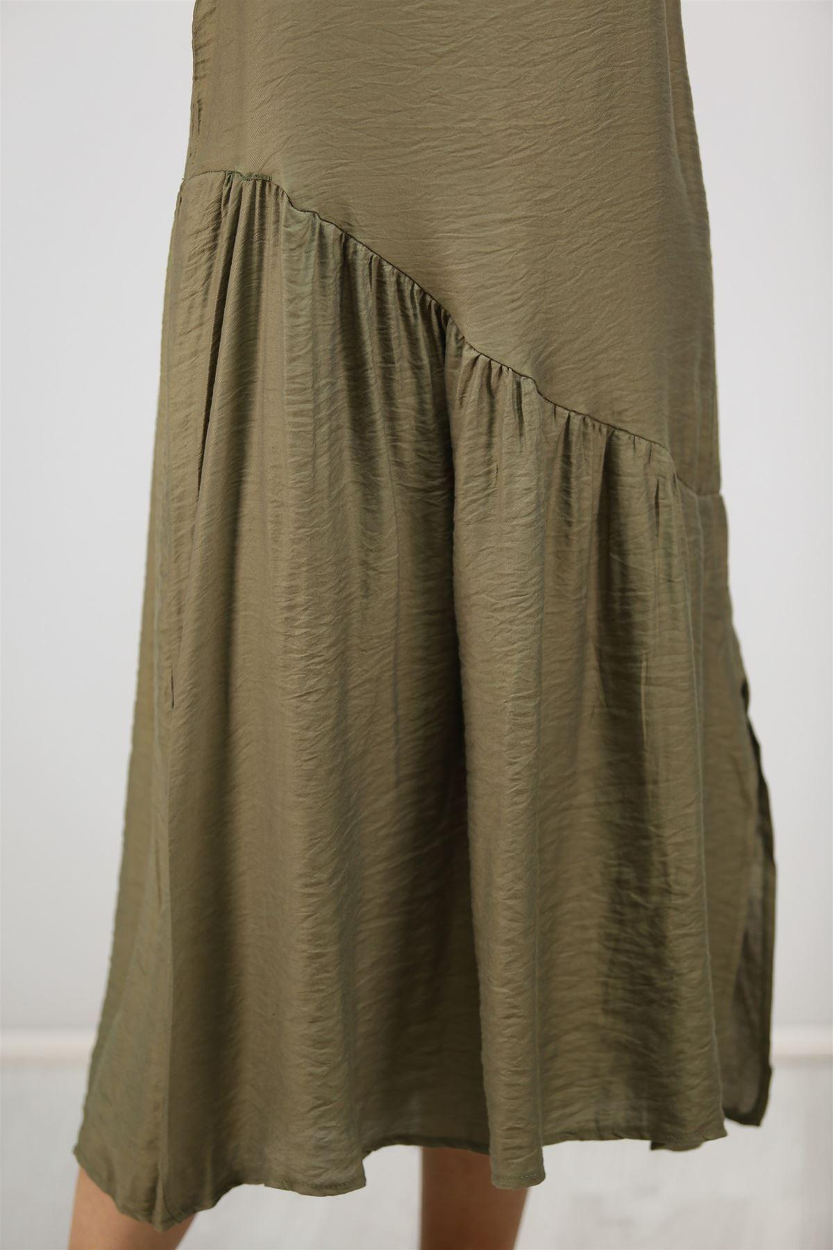 Kolsuz Yırtmaçlı Elbise Haki - 20262.1234.