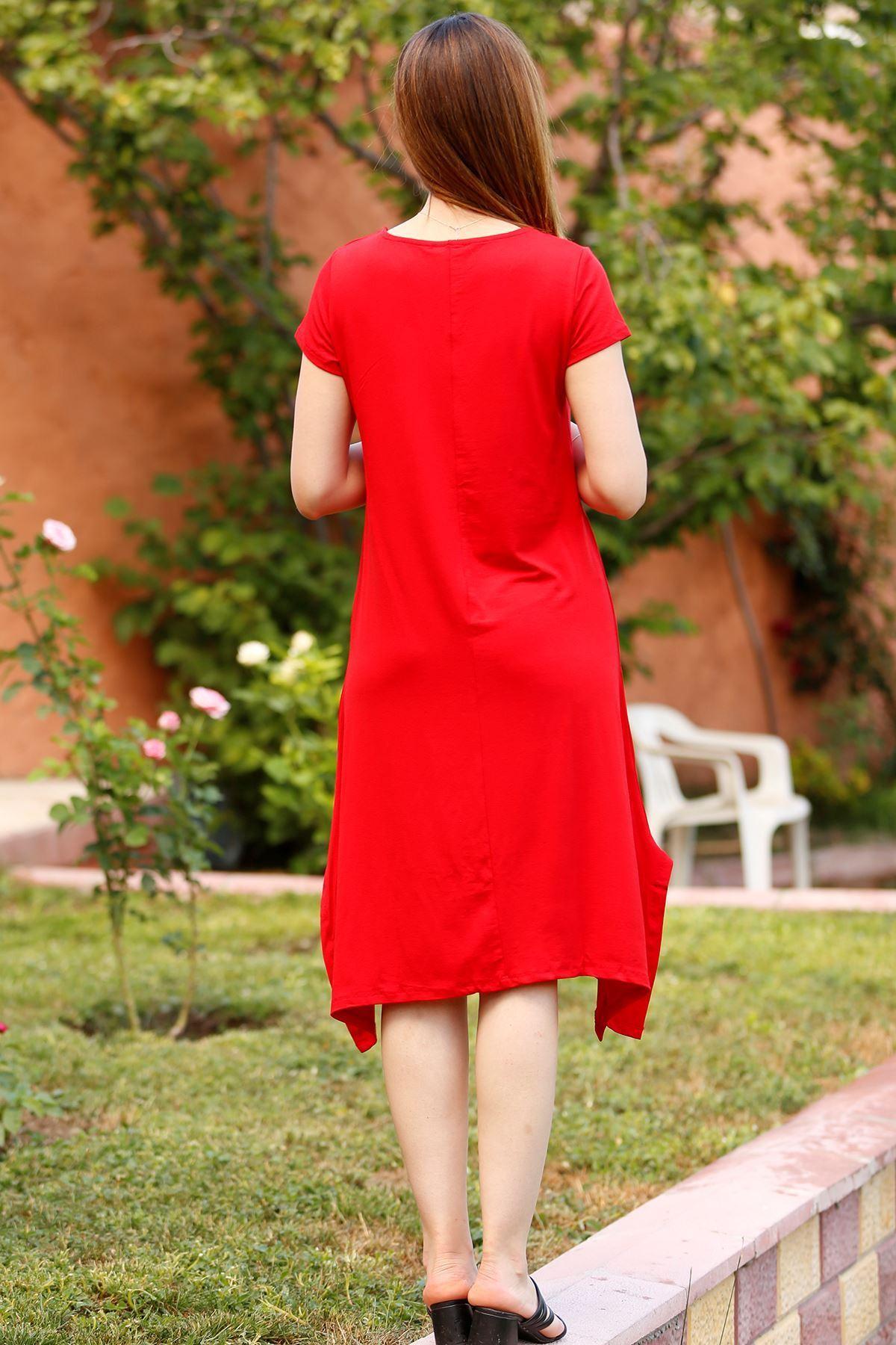 Asimetrik Elbise Kırmızı - 4275.994.
