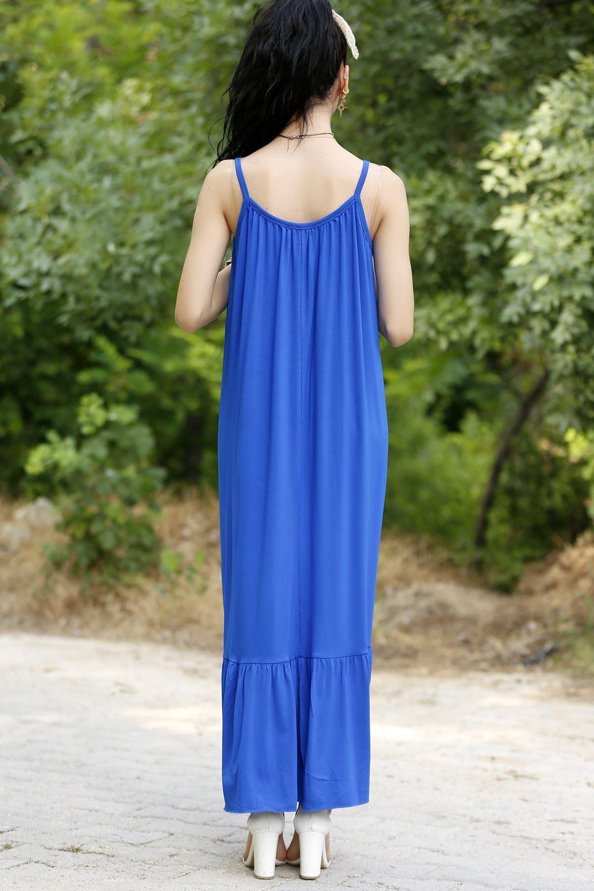 İp Askılı Elbise Saks - 20270.1234.