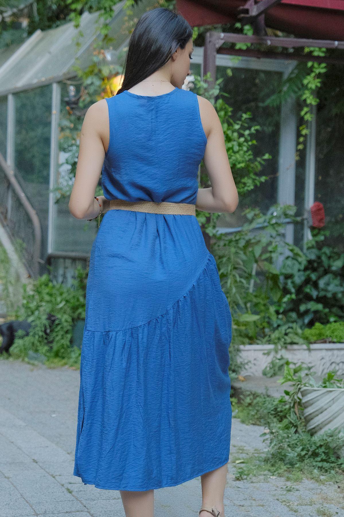 Kolsuz Yırtmaçlı Elbise Mavi - 20262.1234.