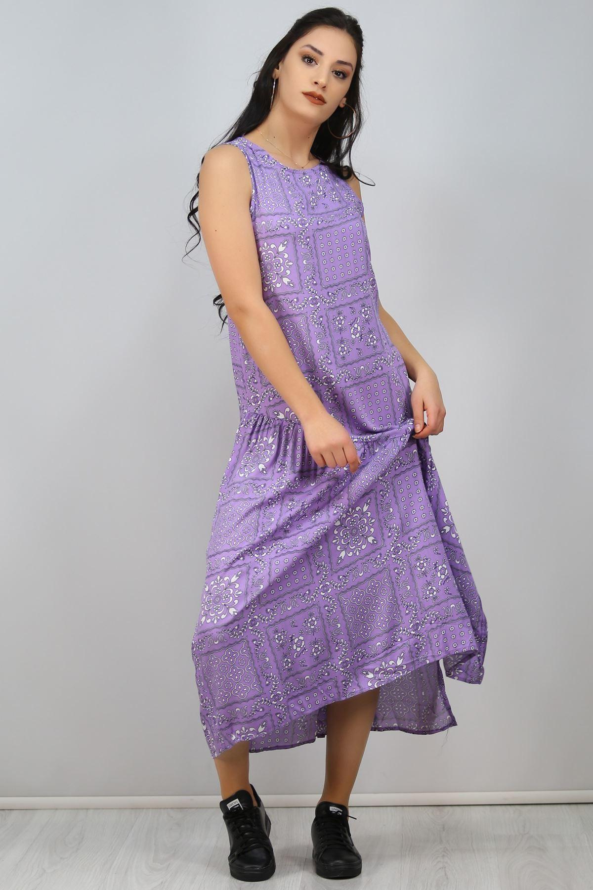 Asimetrik Volanlı Elbise Leylakbeyaz - 2521.994.