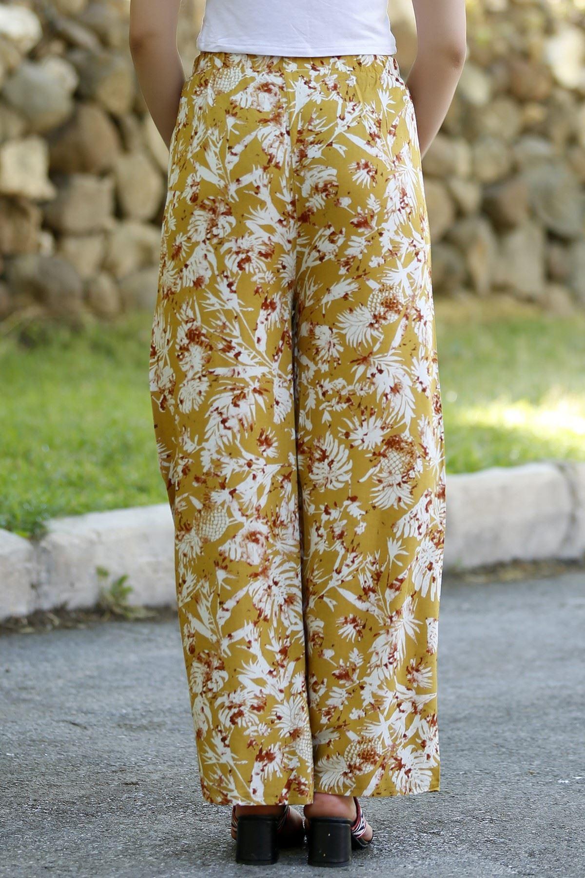 Ham Keten Pantolon Çiçeklisarı - 3946.128.