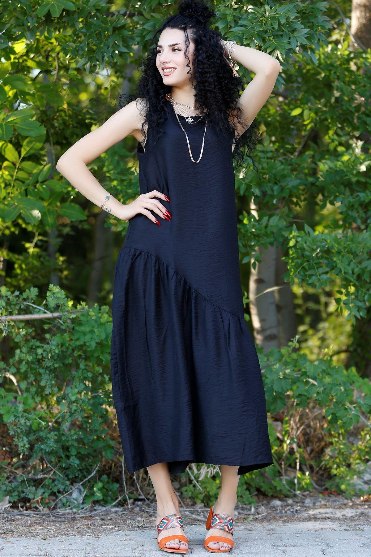 Kolsuz Yırtmaçlı Elbise Siyah - 20262.1234.