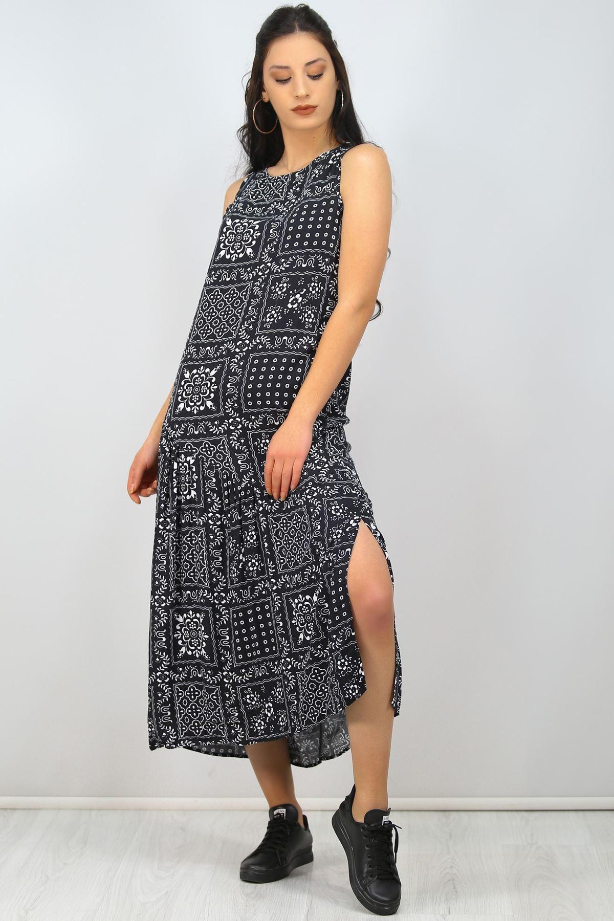 Asimetrik Volanlı Elbise Siyahbeyaz - 2521.994.