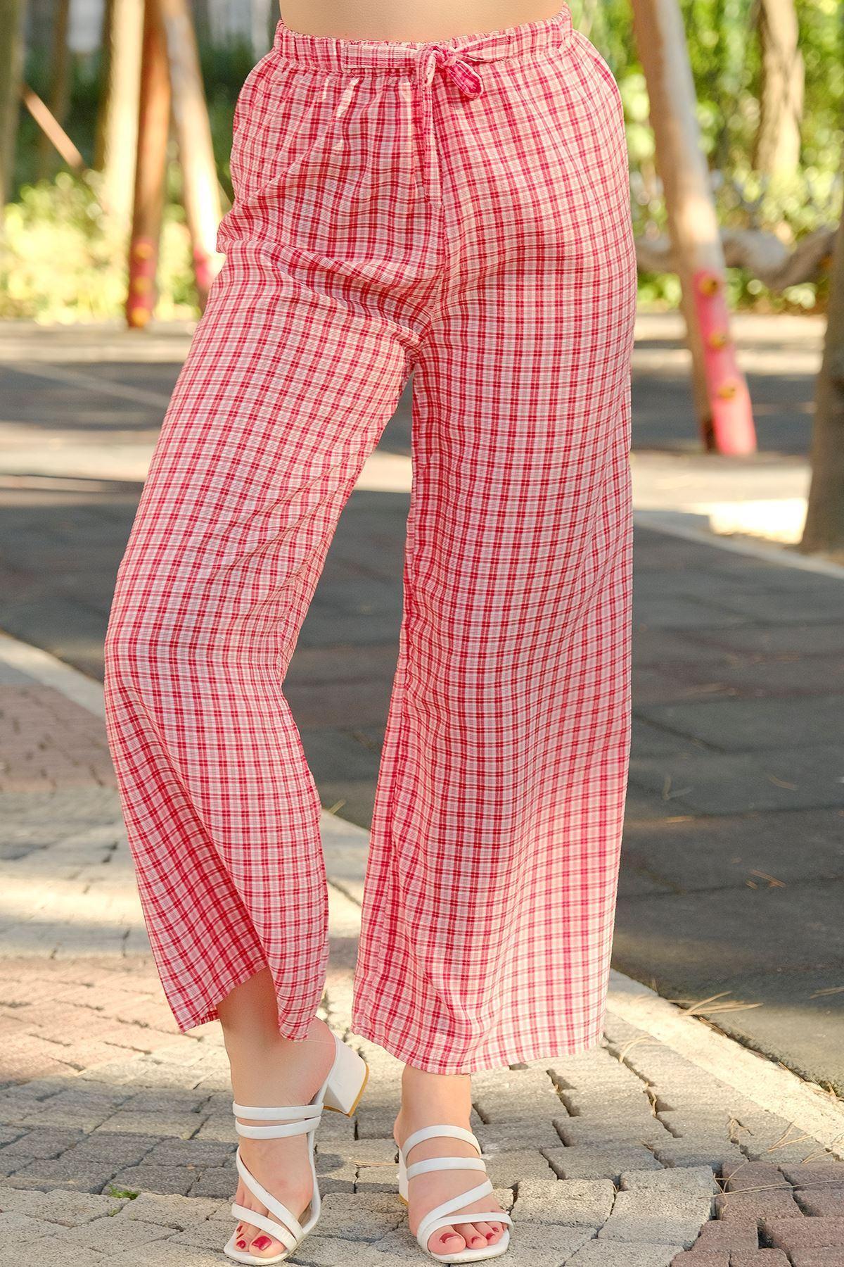Desenli Bol Pantolon Ekosekırmızı - 0753.128.