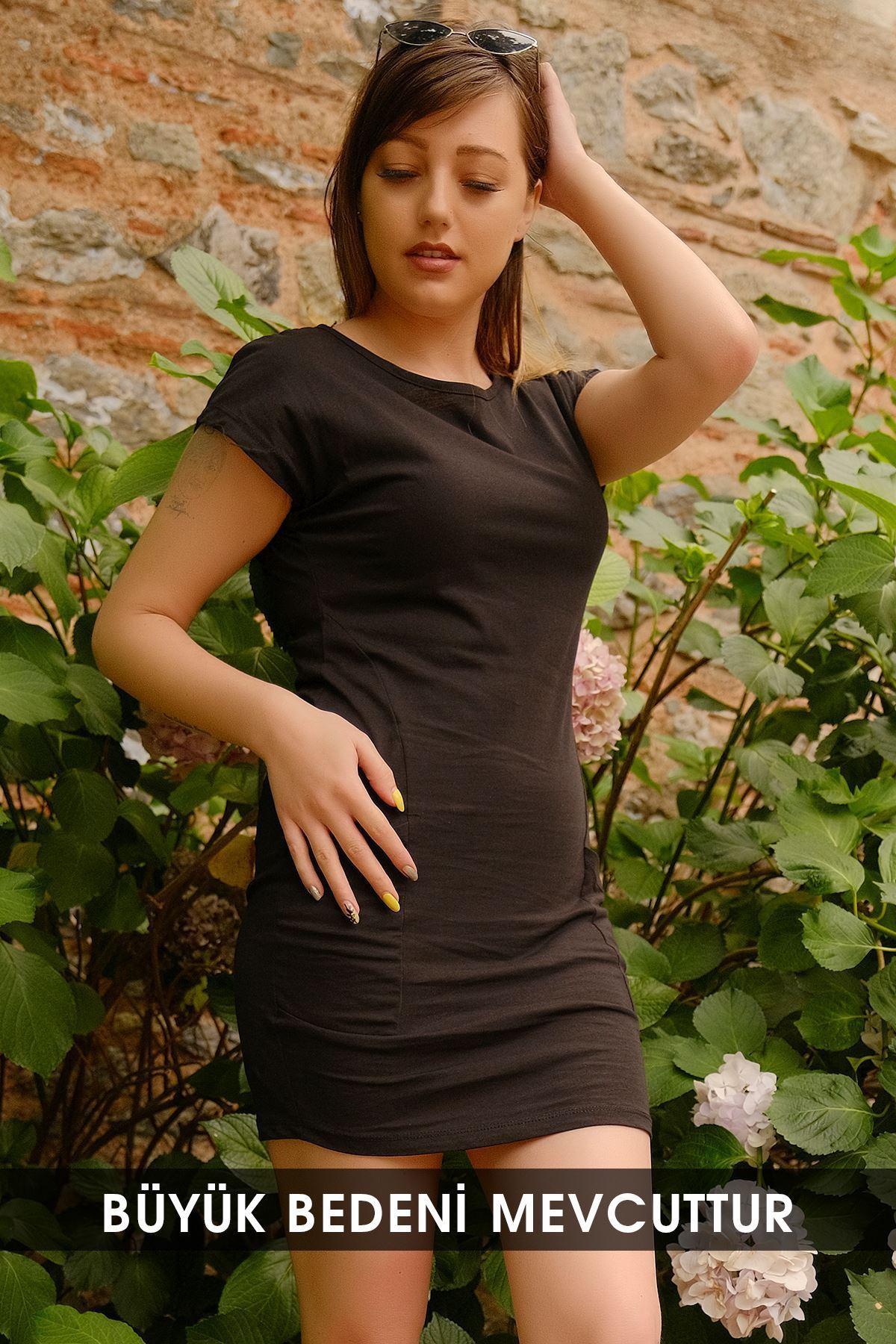 Büyük Beden Cep Detaylı Elbise Siyah - 1681.1256.