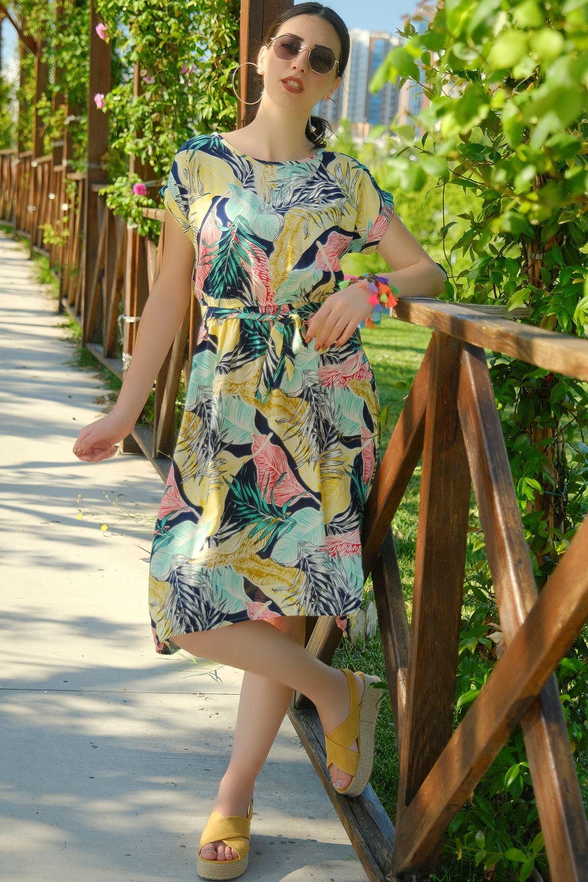 Kemerli Elbise Laciyeşil - 4306.128.