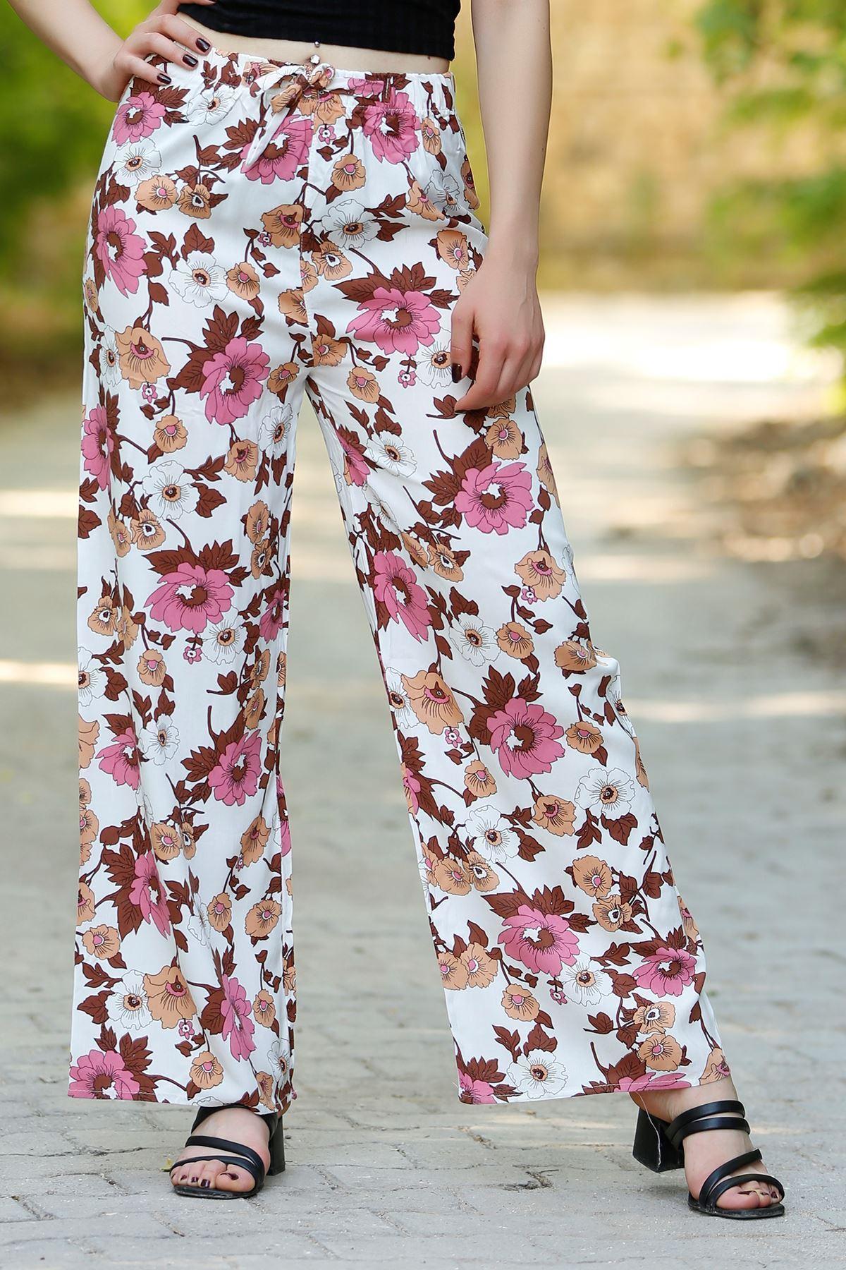 Desenli Bol Pantolon Beyazpembe - 0753.128.