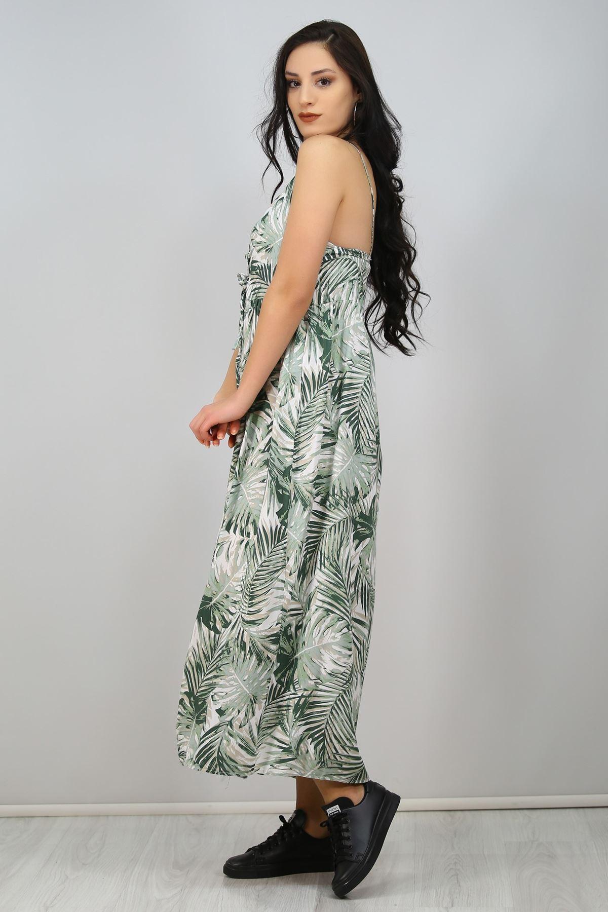İp Askılı Bağcıklı Elbise Yeşil - 6592.1293.