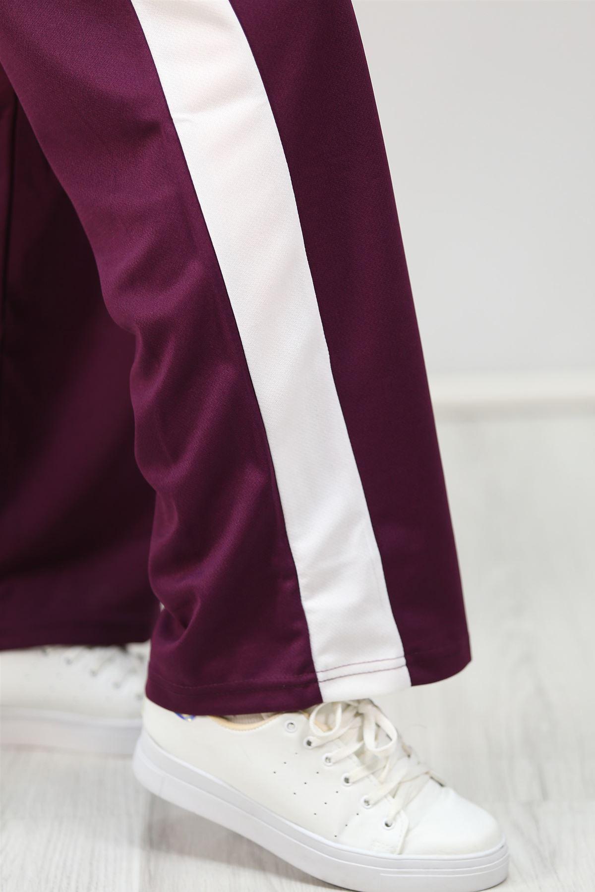 Yanı Şeritli Bol Paça Pantolon Koyumor - 3055.150.