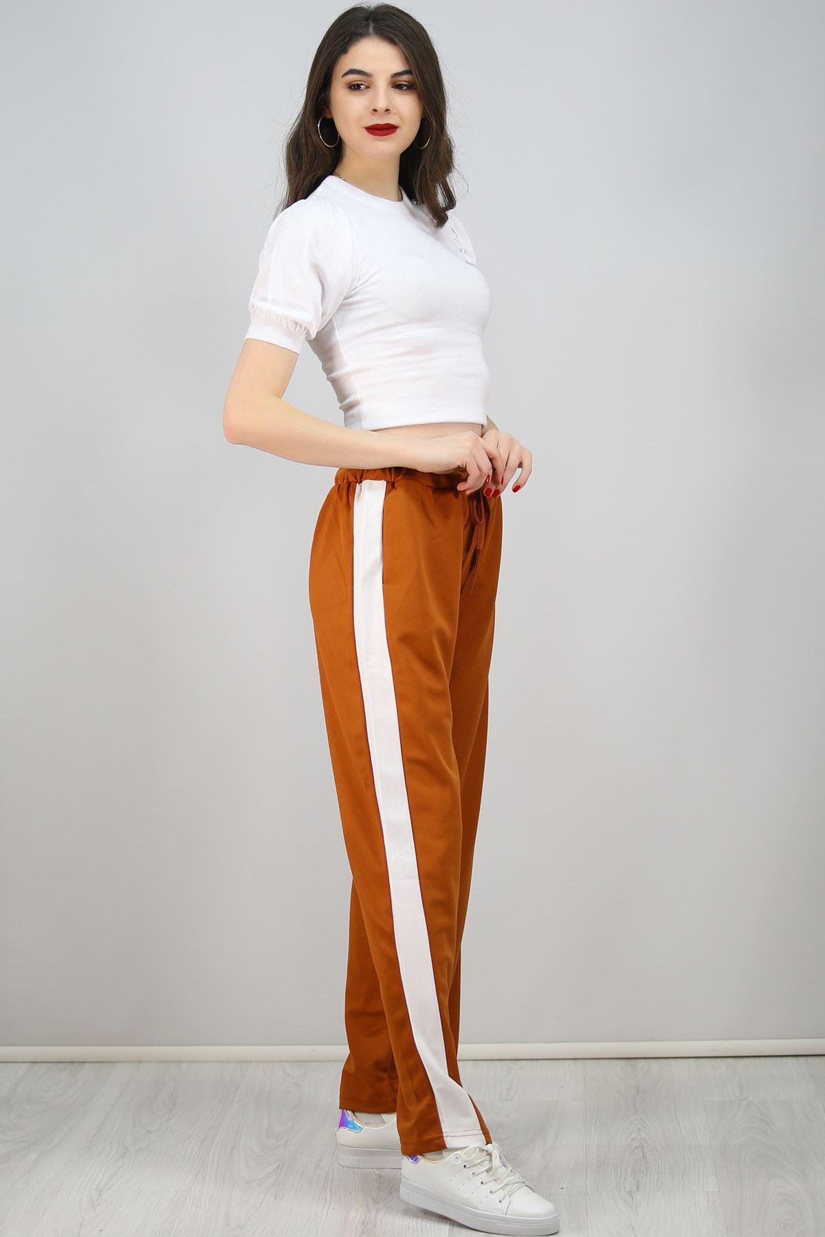 Yanı Şeritli Bol Paça Pantolon Taba - 3055.150.