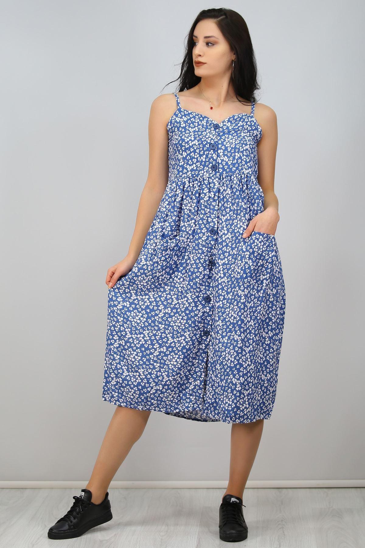 İpaskılı Düğmeli Elbise Mavi - 6578.1293.