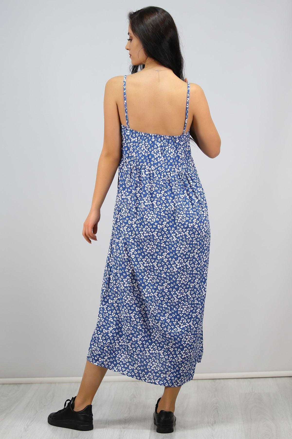 İp Askılı Bağcıklı Elbise Mavi - 6592.1293.