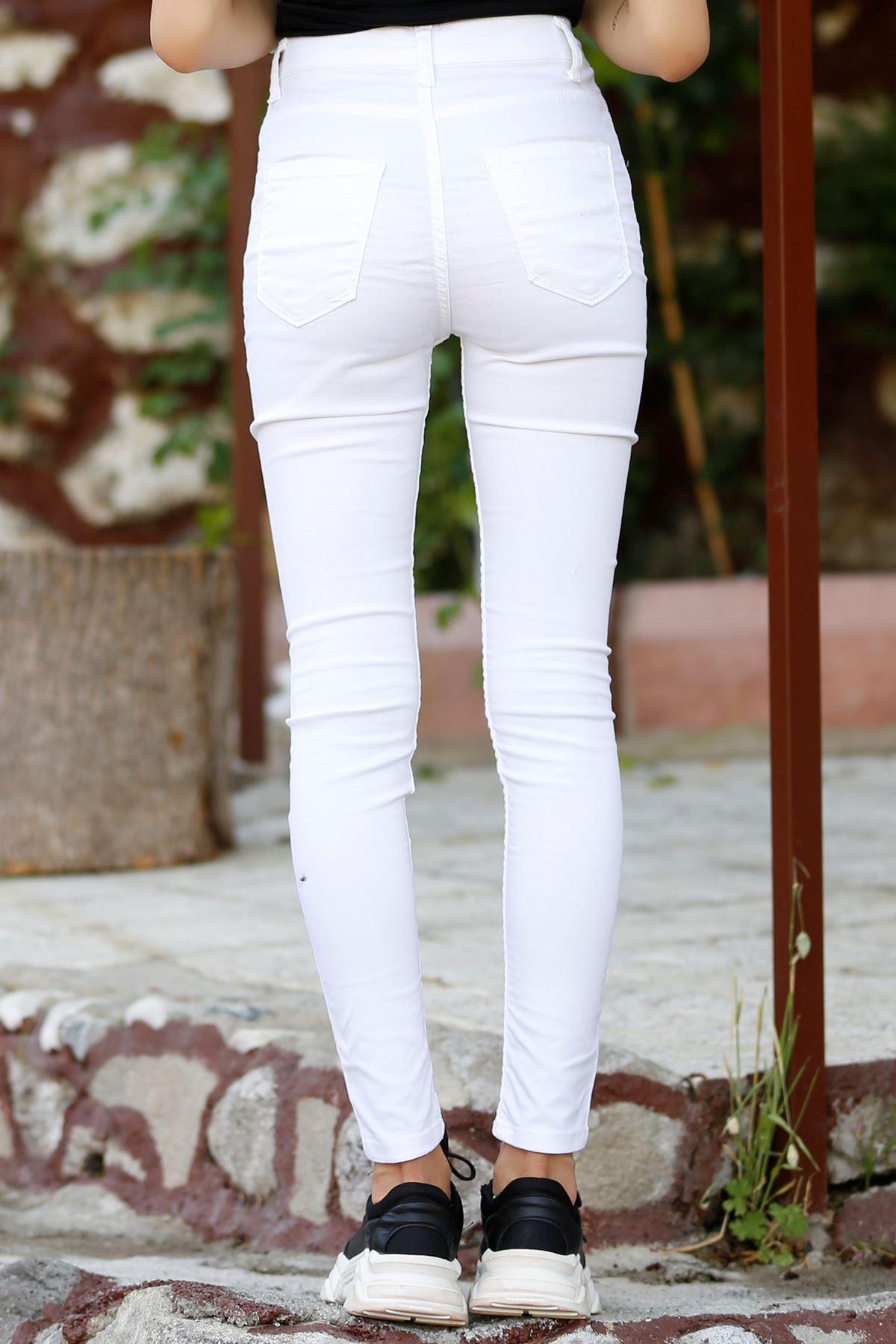 Yırtıklı Kot Pantolon Beyaz - 4291.925.