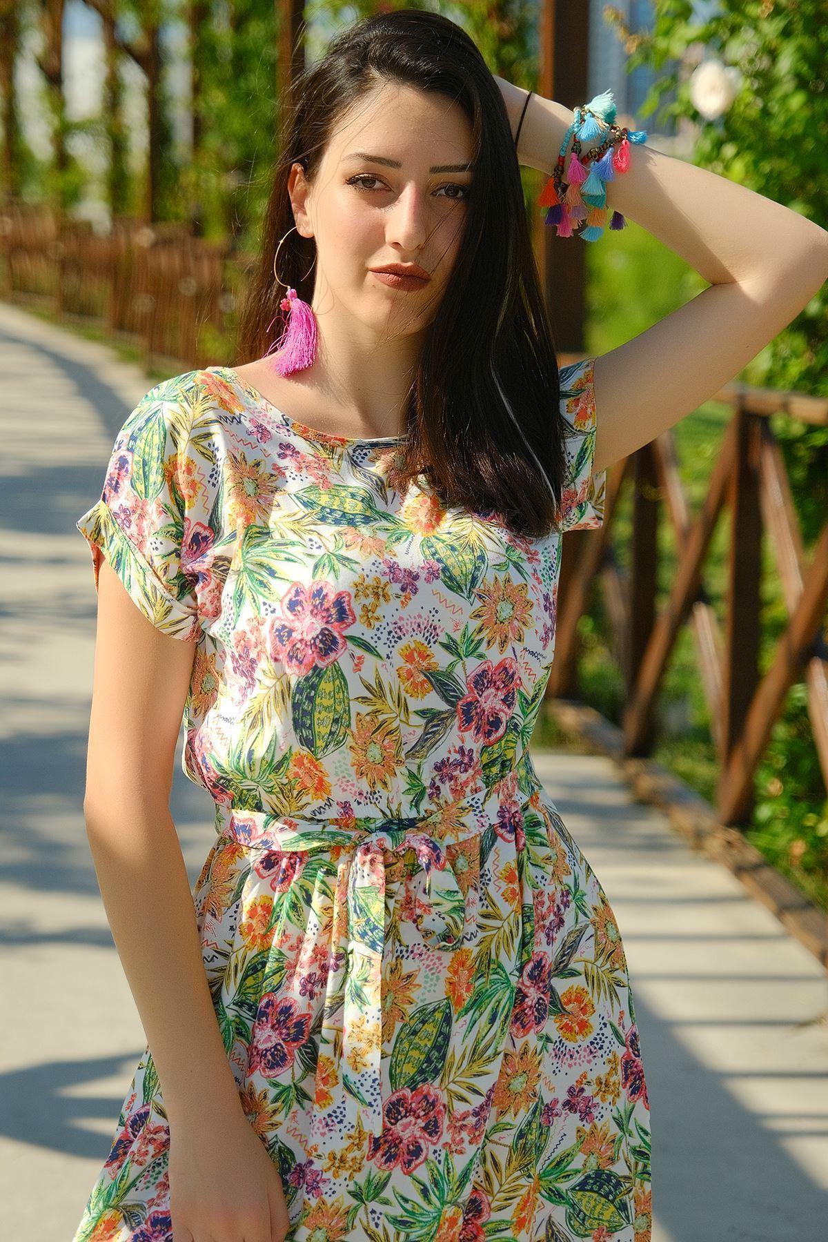 Kemerli Elbise Beyazyeşil - 4306.128.