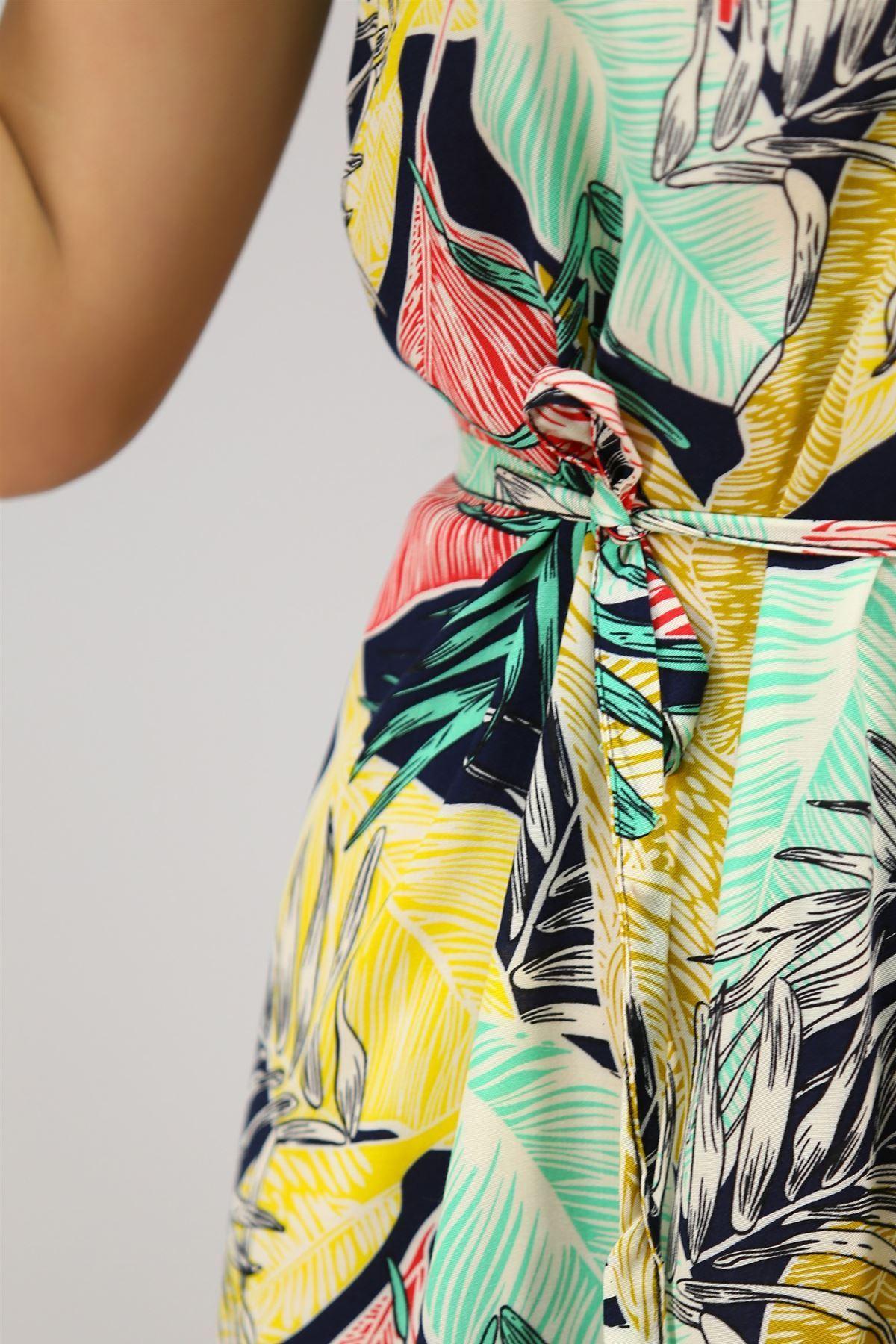 Kolsuz Kemerli Elbise Laciyeşil - 4304.128.