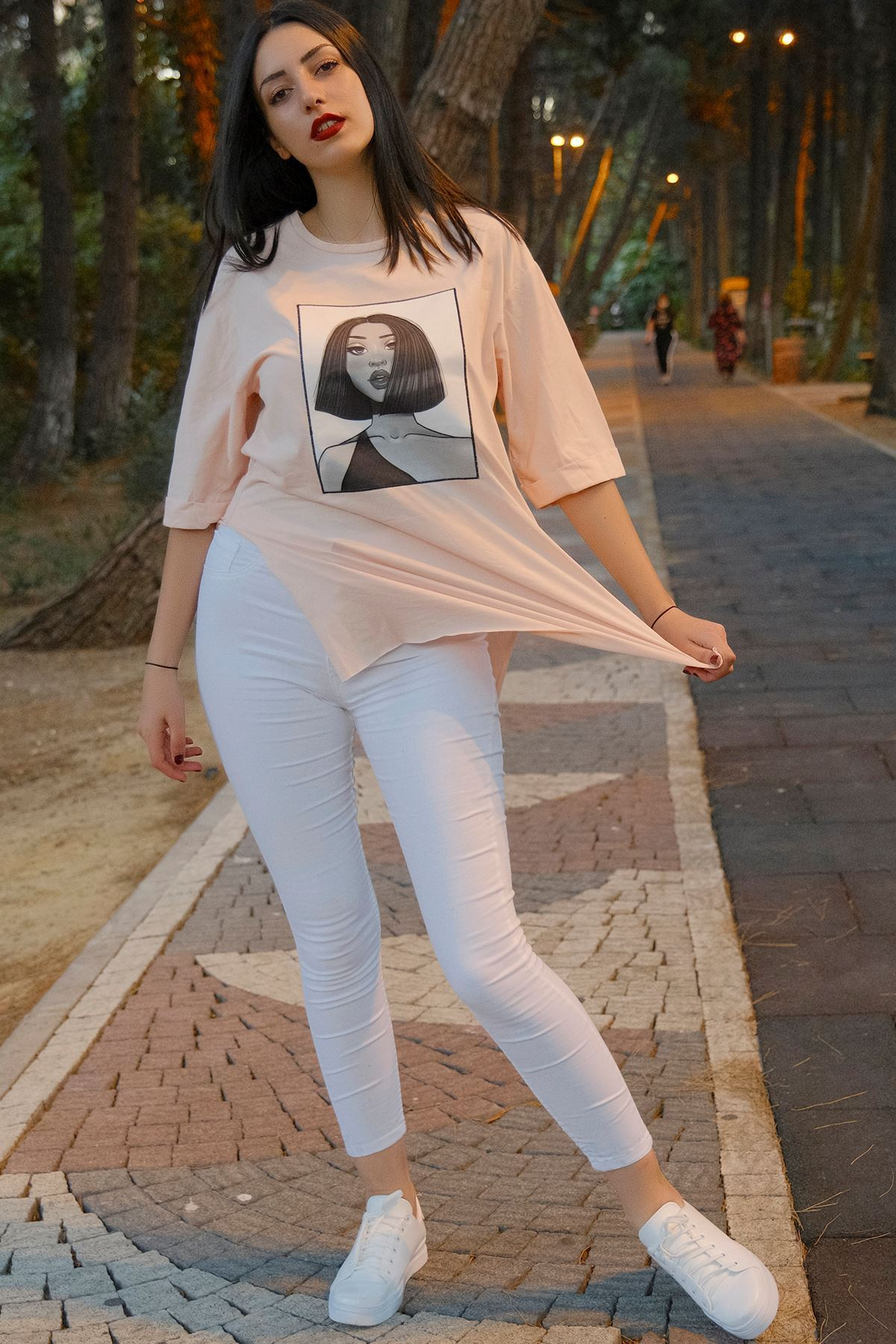 Kız Baskılı Tunik Pudra - 8016.994.