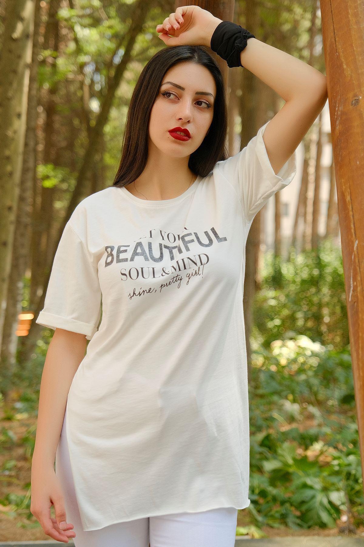 Beautıful Baskı Tişört Kırıkbeyaz - 8008.336.